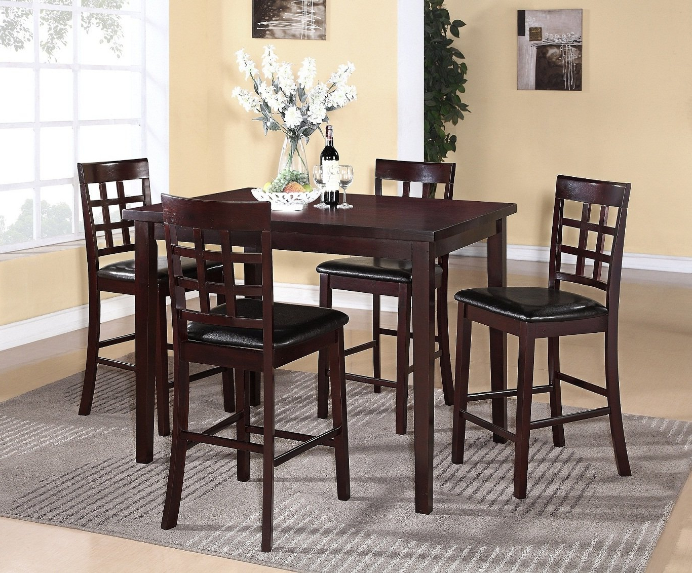 Espresso Finish Wood Classic Design Dining Tables inside Most Up-to-Date Poka 5Pc Espresso Finish Rectangle Wood Counter Height Dining Set