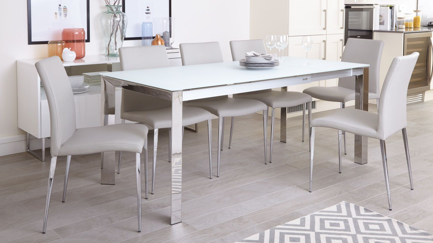 Eve White Frosted Glass With Chrome And Elise Extending throughout Most Recently Released Chrome Contemporary Square Casual Dining Tables