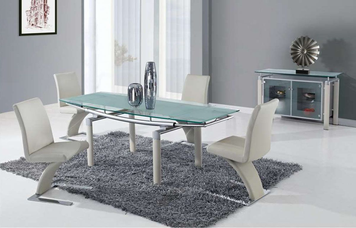 Extendable Frosted Glass Top Designer Modern Dining Room Inside Well Known Chrome Contemporary Square Casual Dining Tables (View 3 of 25)