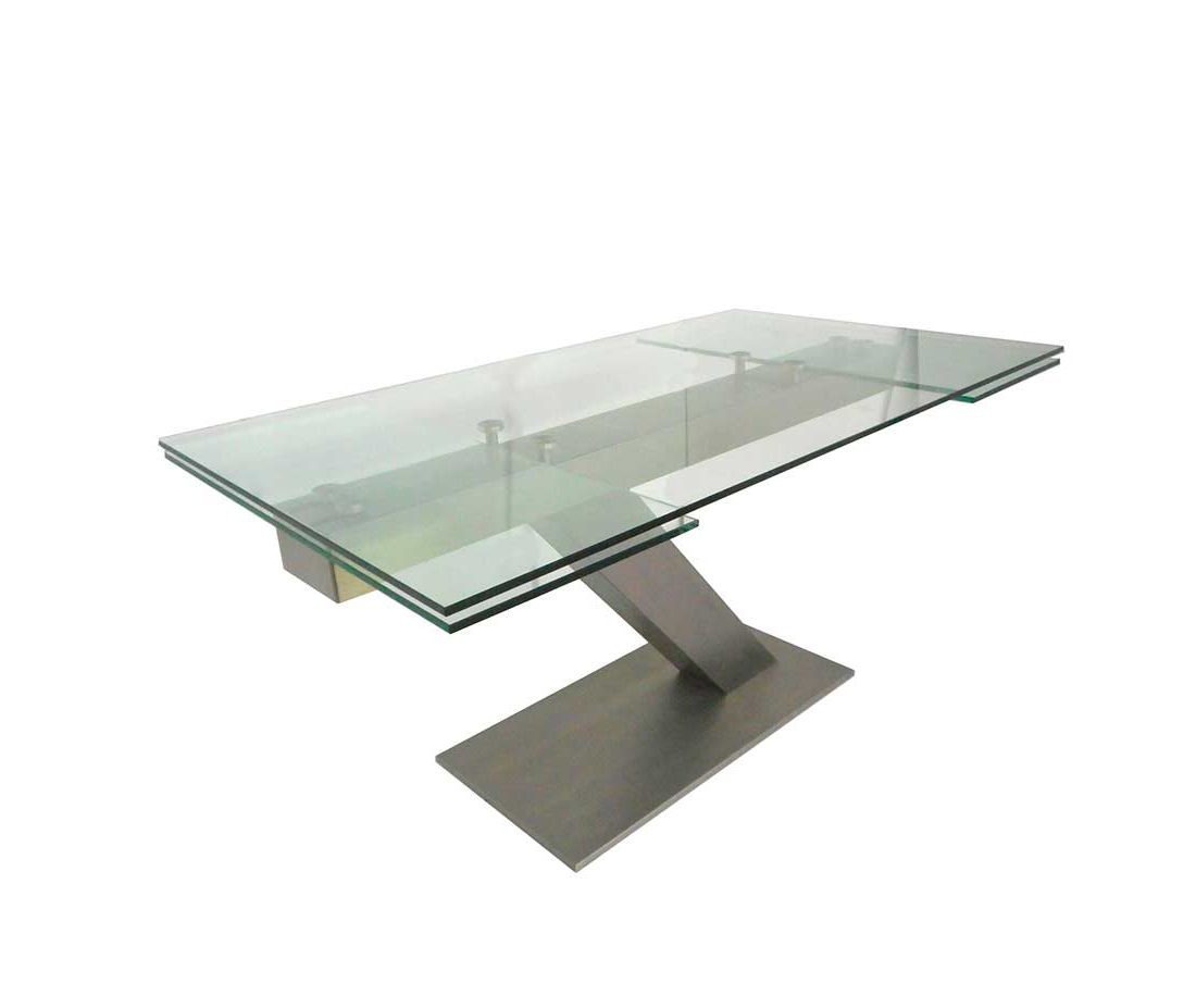 Extendable Glass Table In Stainless Steel Estyle 874 with regard to Most Current Modern Glass Top Extension Dining Tables In Stainless