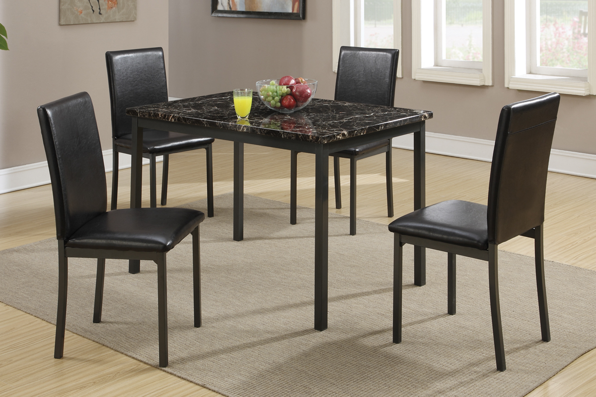 Famous 5 Pcs Dining Set (Table+ 4 Chairs) F2361 With Faux Marble Finish Metal Contemporary Dining Tables (View 5 of 25)