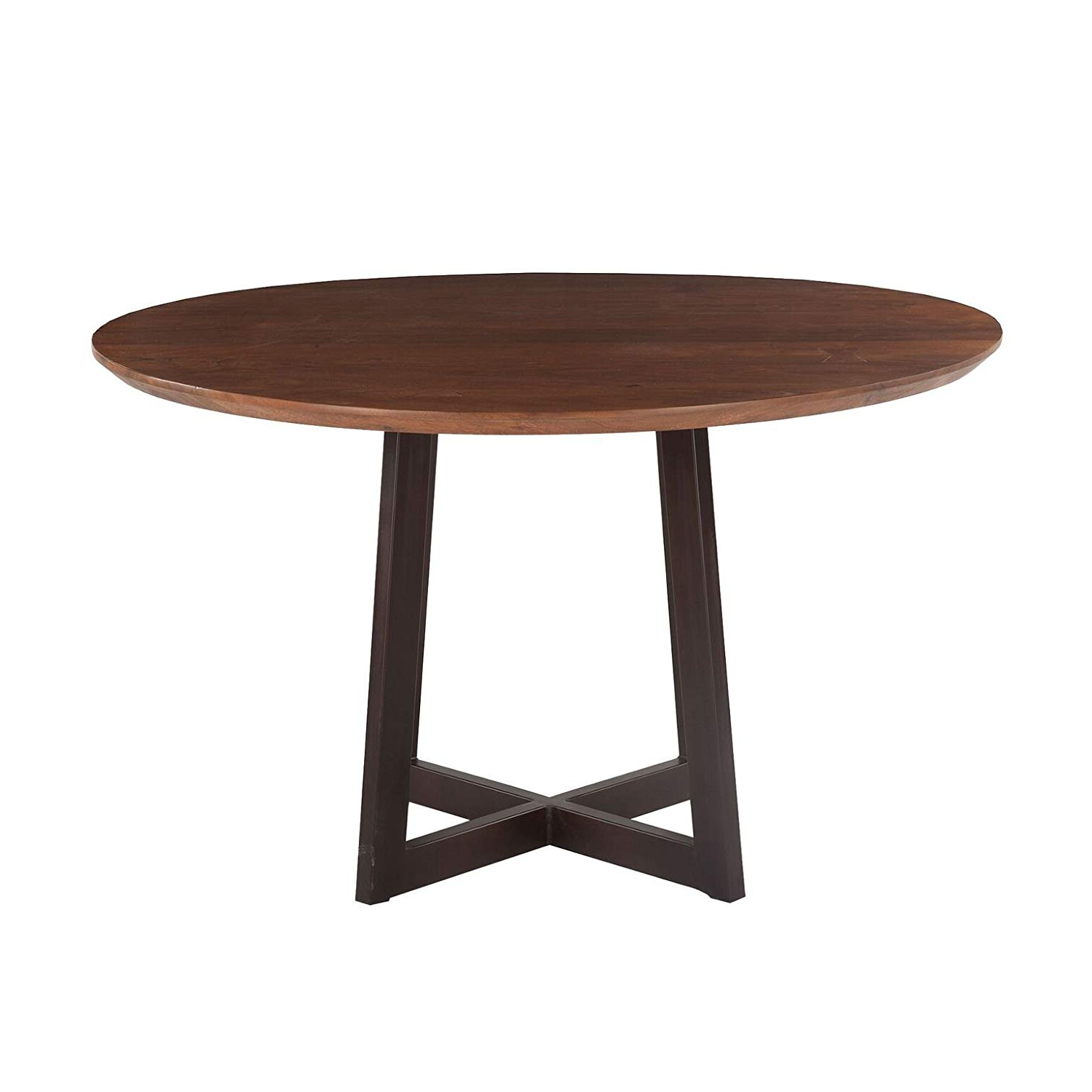 Famous Acacia Top Dining Tables With Metal Legs With Regard To Amazon – World Interiors Acacia Wood And Iron Round (View 14 of 25)
