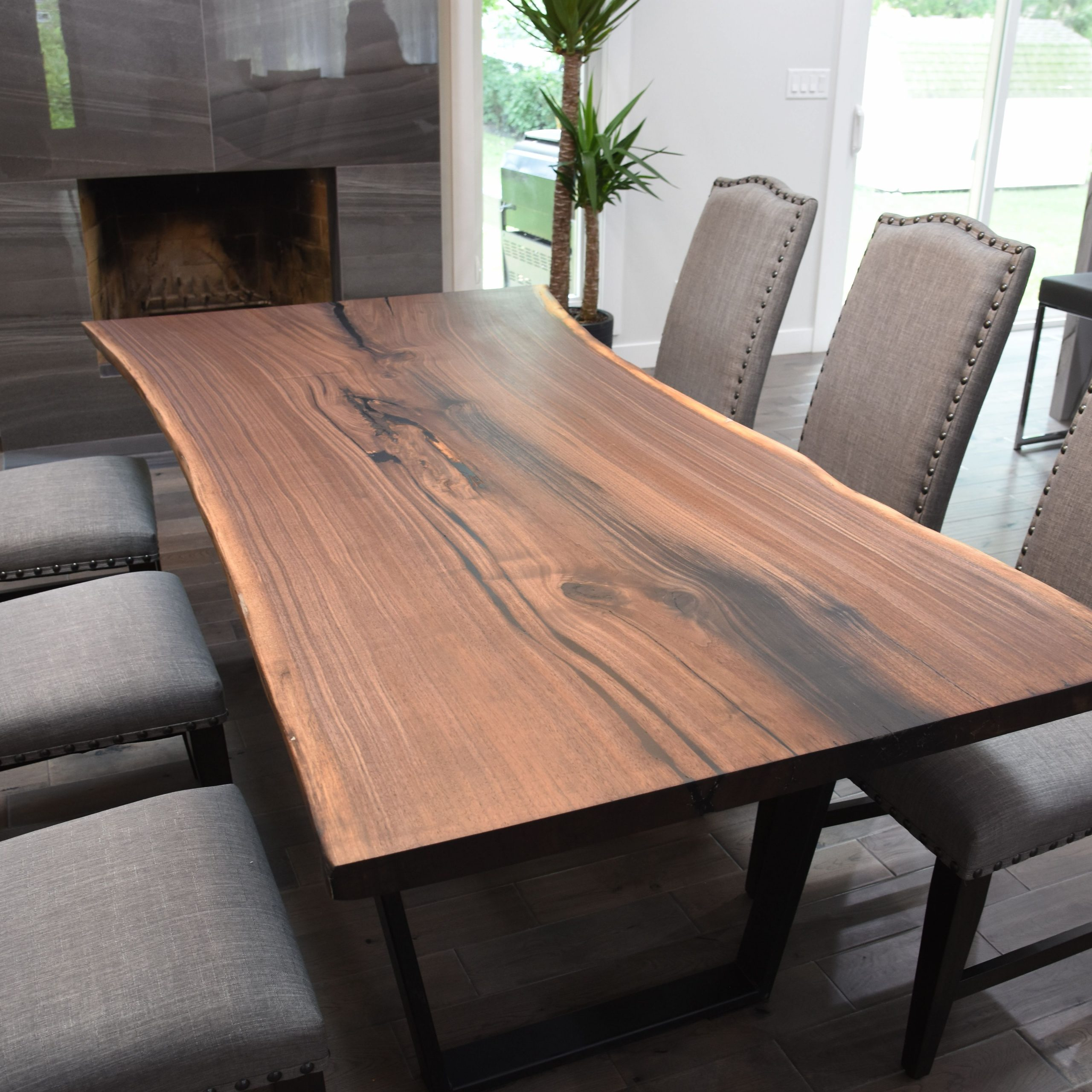 Famous Buy A Custom Single Slab Black Walnut Live Edge Dining Table Regarding Walnut Finish Live Edge Wood Contemporary Dining Tables (View 9 of 25)