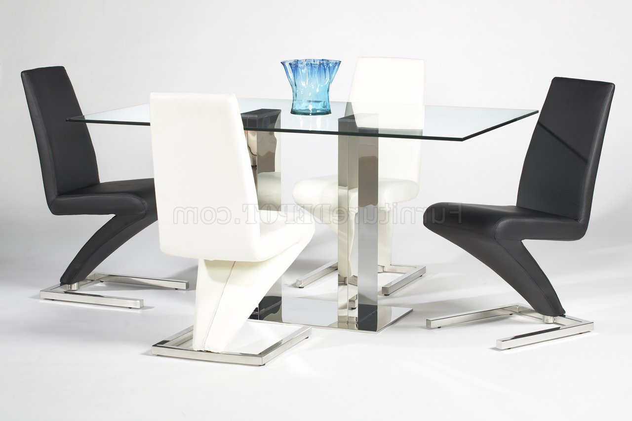 Famous Rectangular Glass Top Modern Dining Table W/optional Side Chairs Pertaining To Rectangular Glass Top Dining Tables (View 17 of 25)