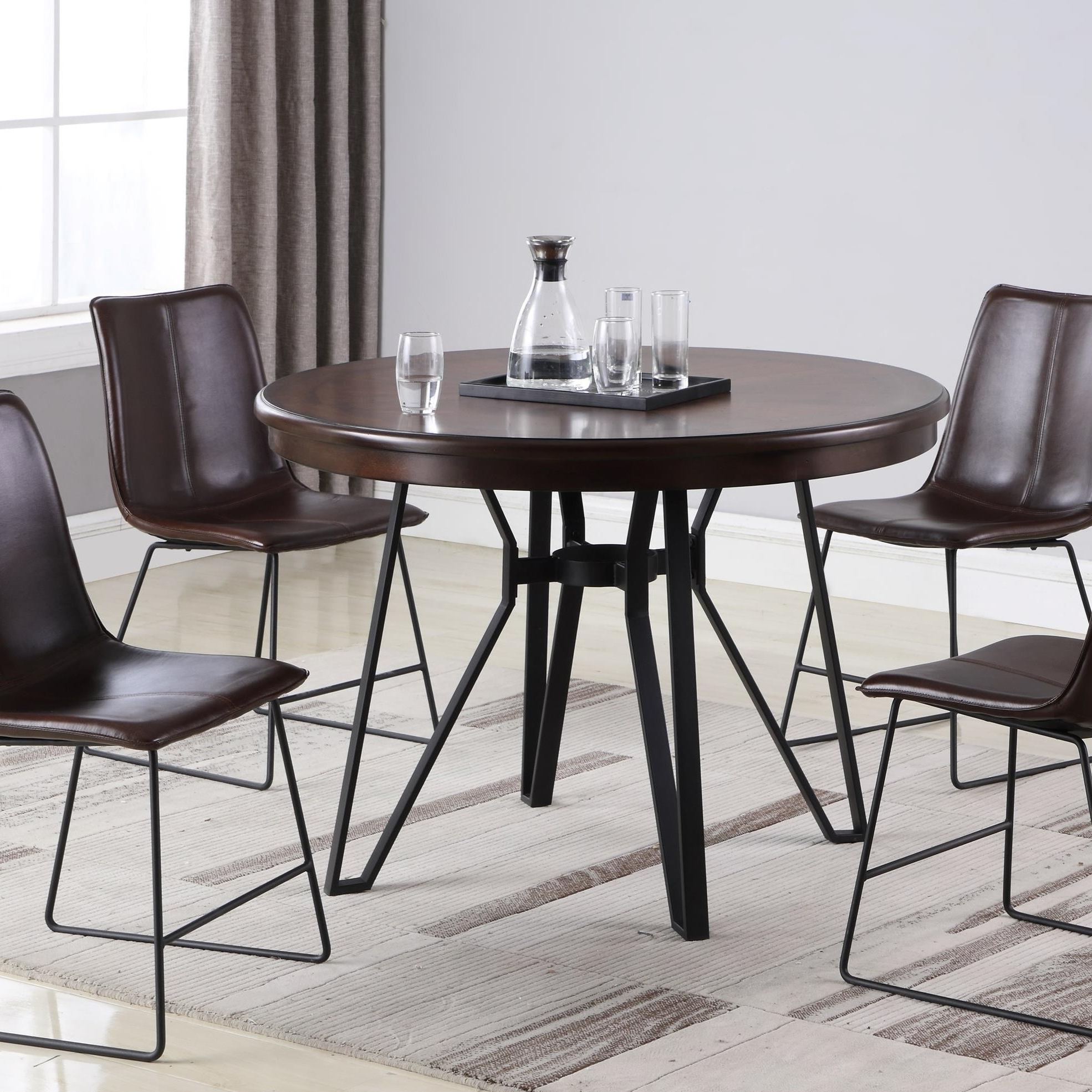 Famous Round Industrial Style Dining Table Residence C1860P With Regard To Small Rustic Look Dining Tables (View 17 of 25)