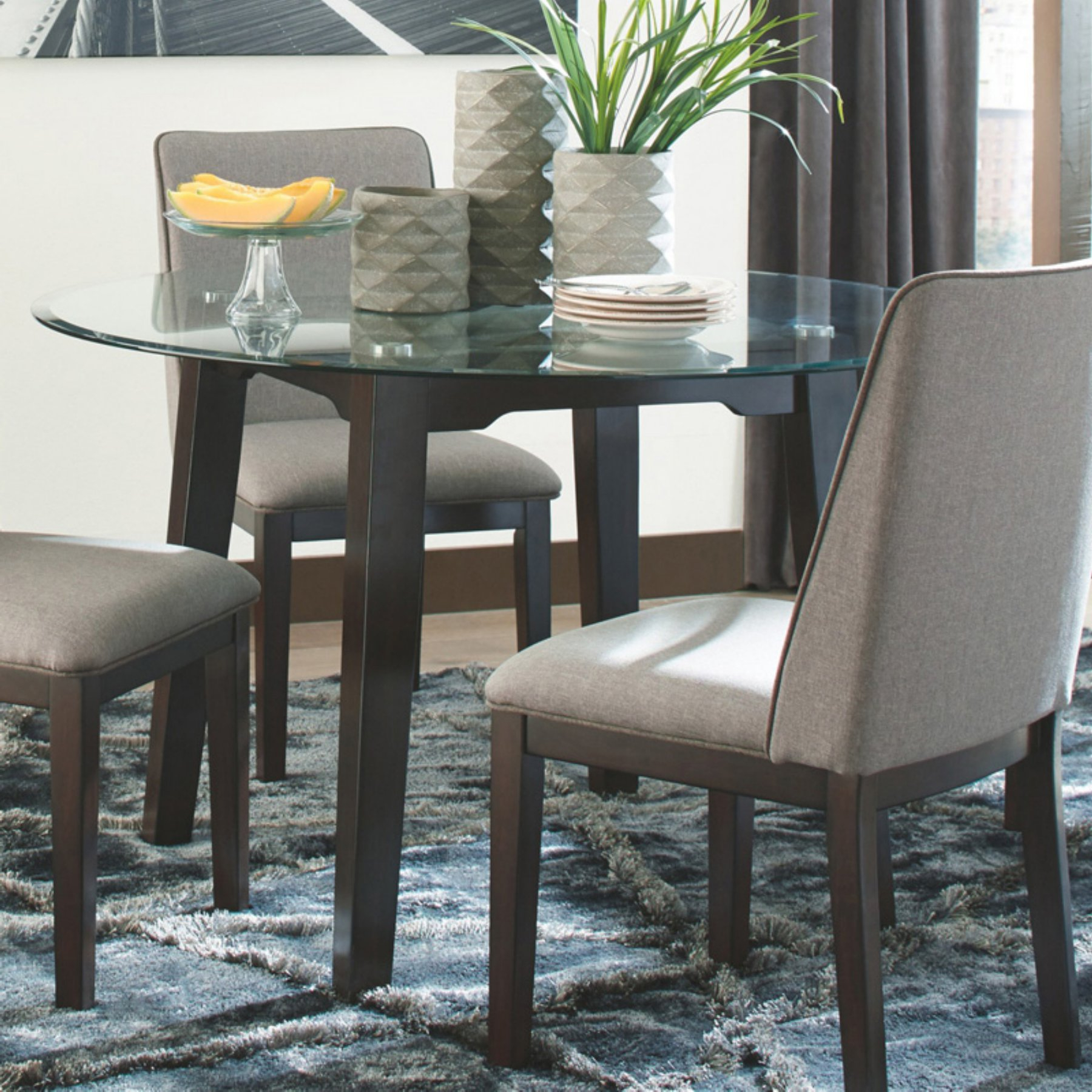 Famous Signature Designashley Chanceen Round Glass Top Dining Inside Glass Top Condo Dining Tables (View 4 of 25)