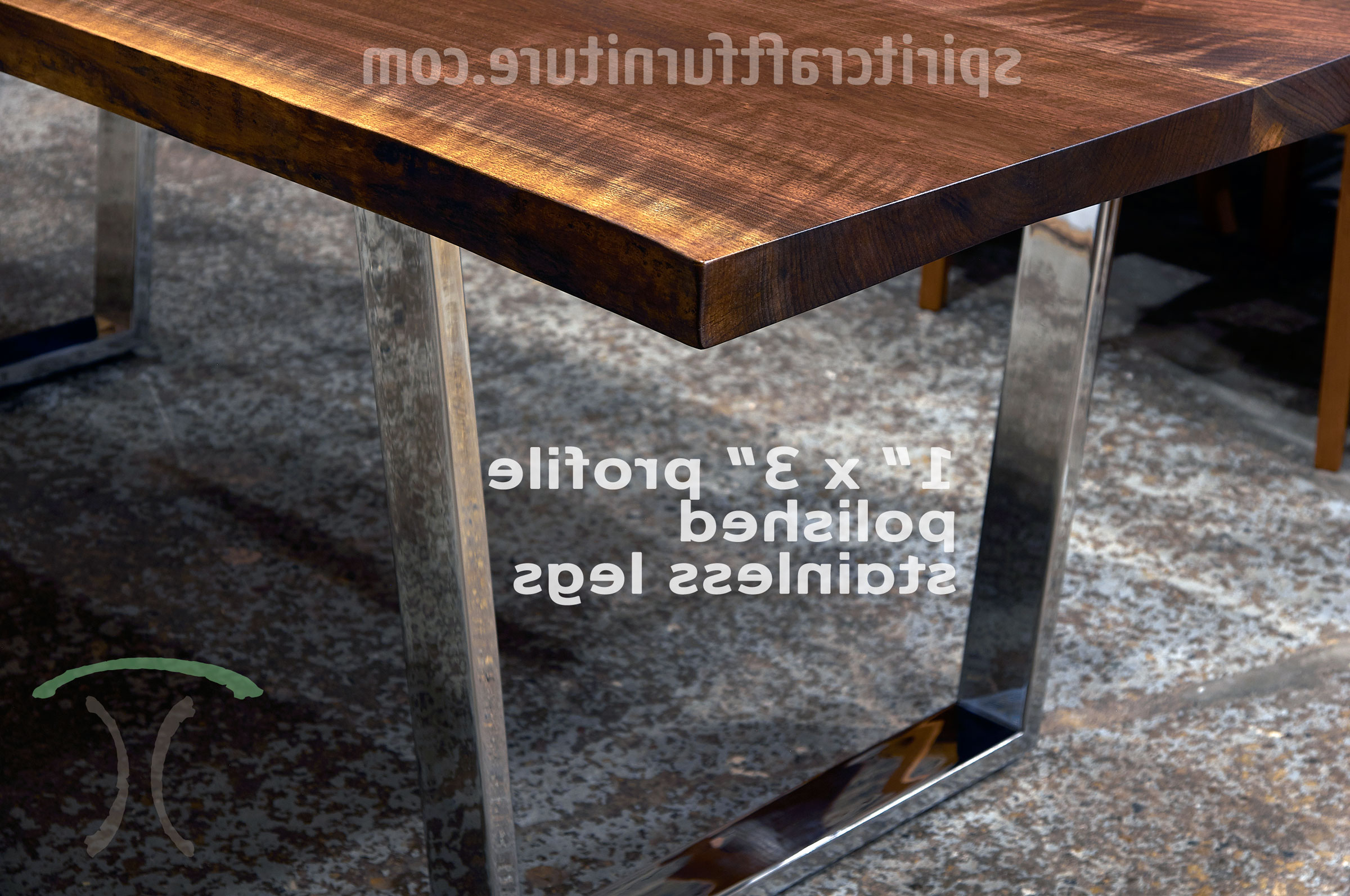 Famous Table Legs And Bases For Hardwood Slab Table Tops Inside Long Dining Tables With Polished Black Stainless Steel Base (View 17 of 25)
