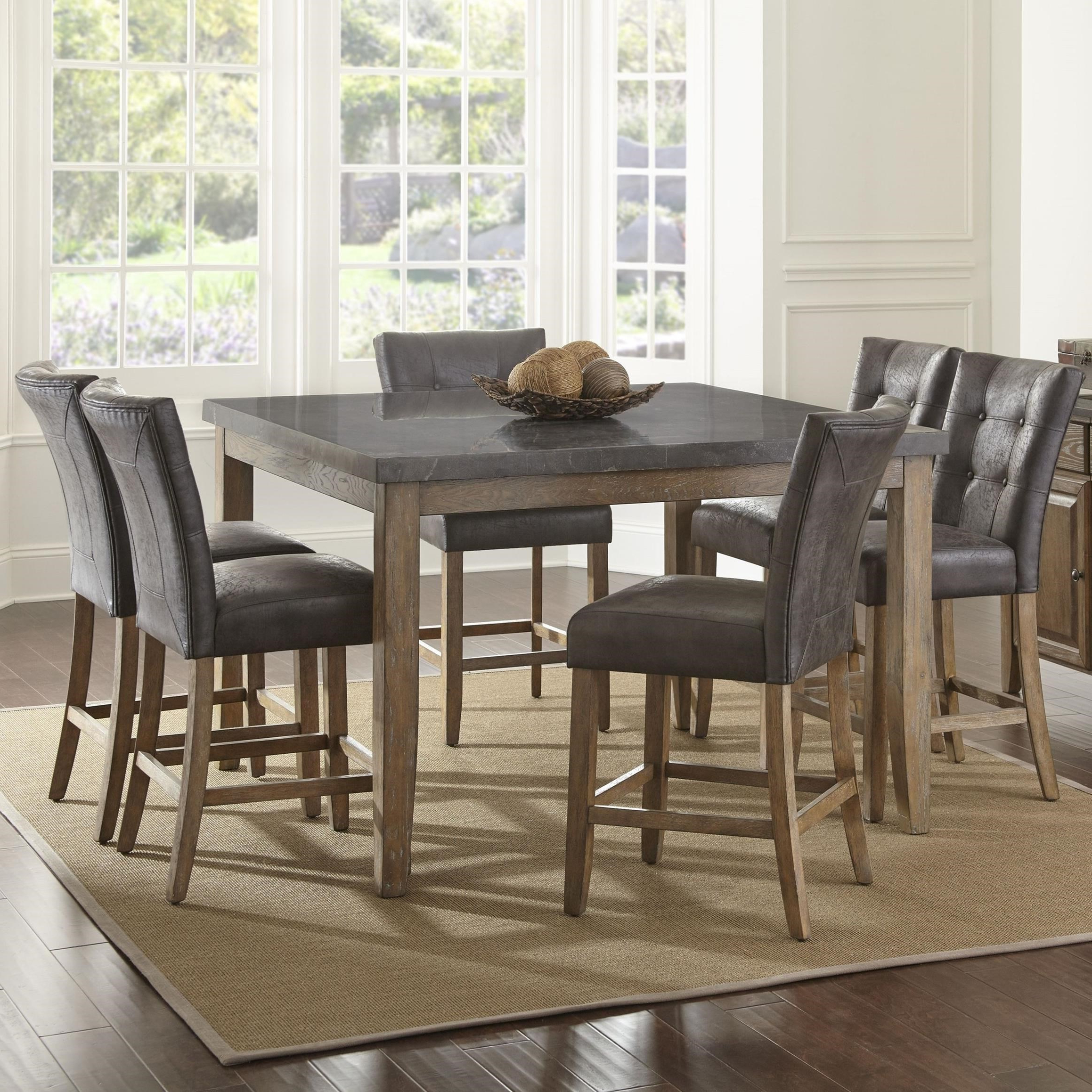 Famous Transitional Driftwood Casual Dining Tables Regarding Steve Silver Debby 7 Piece Transitional Square Table And (View 20 of 25)