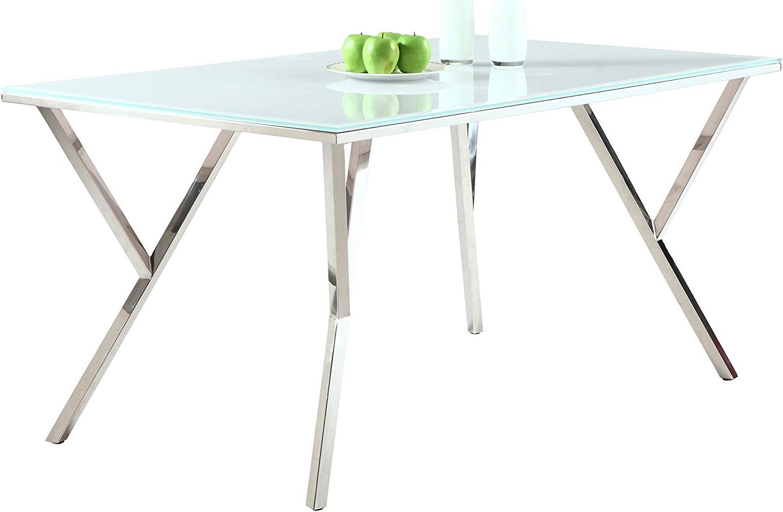 Fashionable Amazon – Milan Dt Jaina Super White/chrome Dining Table For Chrome Dining Tables With Tempered Glass (View 13 of 25)