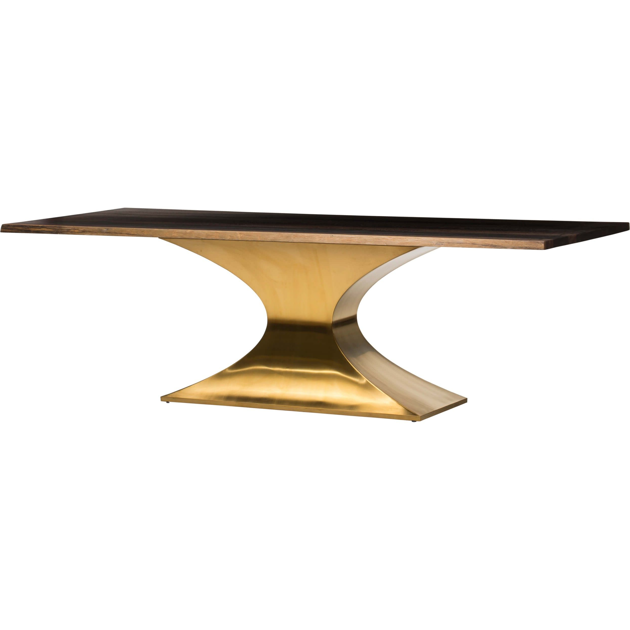 Fashionable Dining Tables In Seared Oak With Brass Detail With Praetorian Dining Table, Seared Oak/brushed Gold Base (View 14 of 25)
