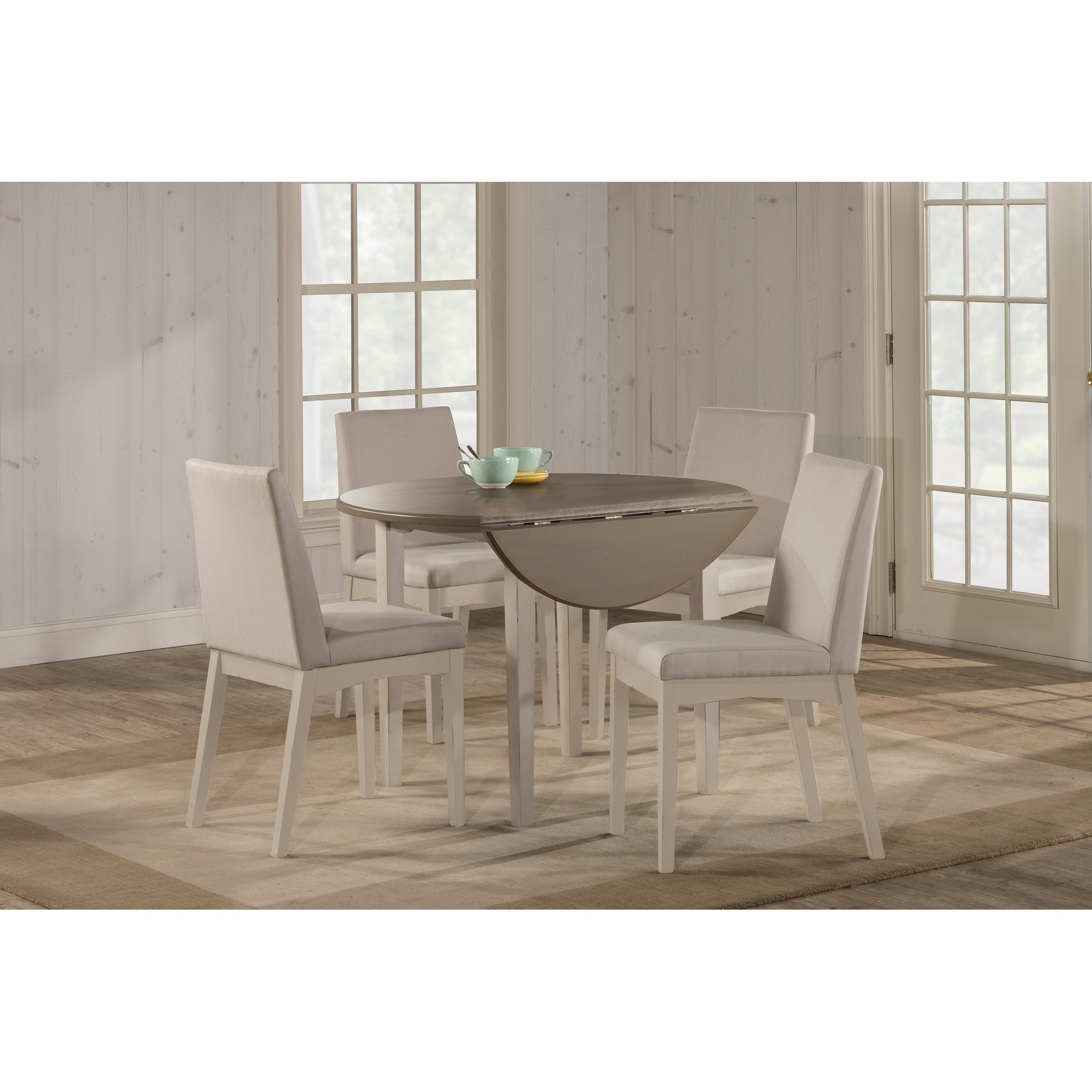 Fashionable Hillsdale Furniture Clarion Five (5) Piece Round Drop Leaf For Transitional 3 Piece Drop Leaf Casual Dining Tables Set (View 3 of 25)