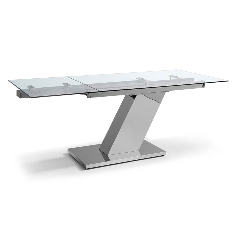 Fashionable Modern Glass Top Extension Dining Tables In Stainless Inside Sleek Extension Table (View 19 of 25)