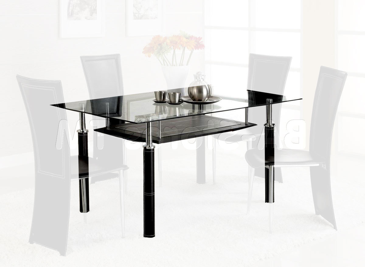 Fashionable Rectangular Glass Top Dining Tables Regarding Rectangular Glass Top Dining Table With Wood Base On With Hd (View 18 of 25)