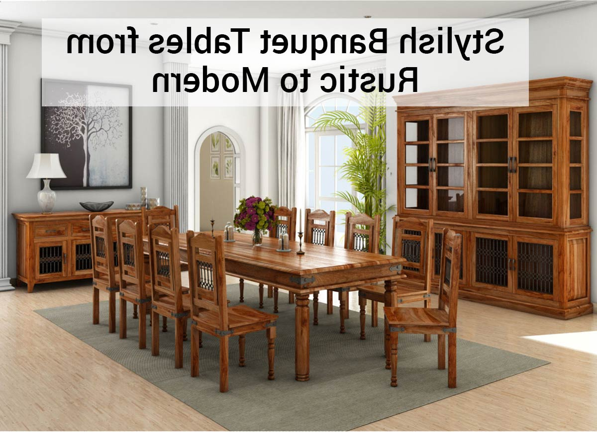 Fashionable Rustic Country 8 Seating Casual Dining Tables Throughout Stylish Banquet Tables From Rustic To Modern – (View 21 of 25)