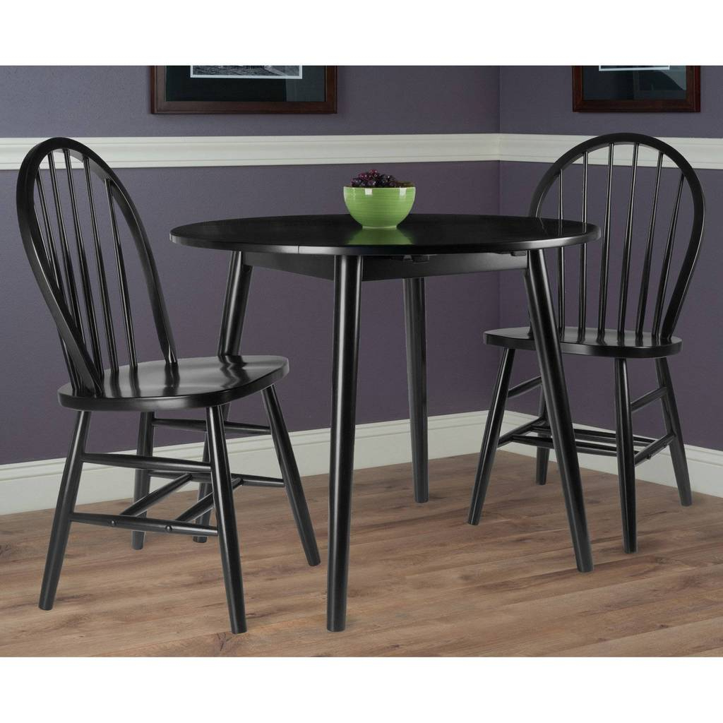 Fashionable Transitional 3 Piece Drop Leaf Casual Dining Tables Set Pertaining To Moreno 3 Pc Set Drop Leaf Table With Chairs, Black Finish (View 17 of 25)