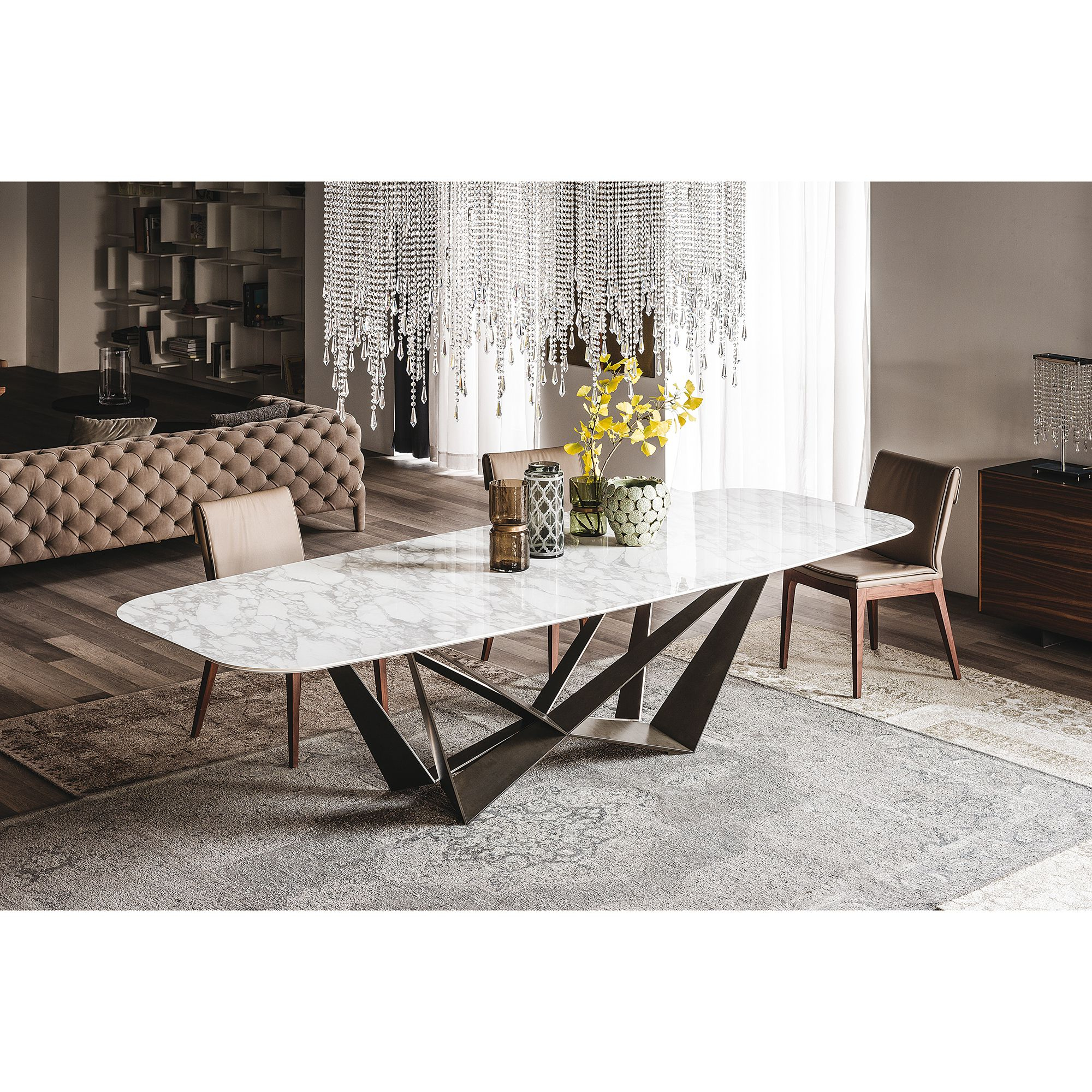 Faux Marble Finish Metal Contemporary Dining Tables Inside Latest Skorpio Dining Table (View 8 of 25)