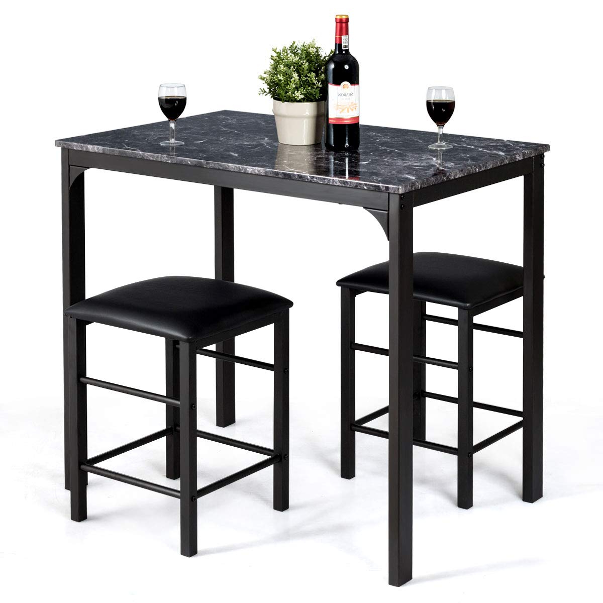 Faux Marble Finish Metal Contemporary Dining Tables Intended For Fashionable Giantex 3 Pcs Dining Table And Chairs Set With Faux Marble Tabletop 2  Chairs Contemporary Dining Table Set For Home Or Hotel Dining Room, Kitchen  Or (View 7 of 25)