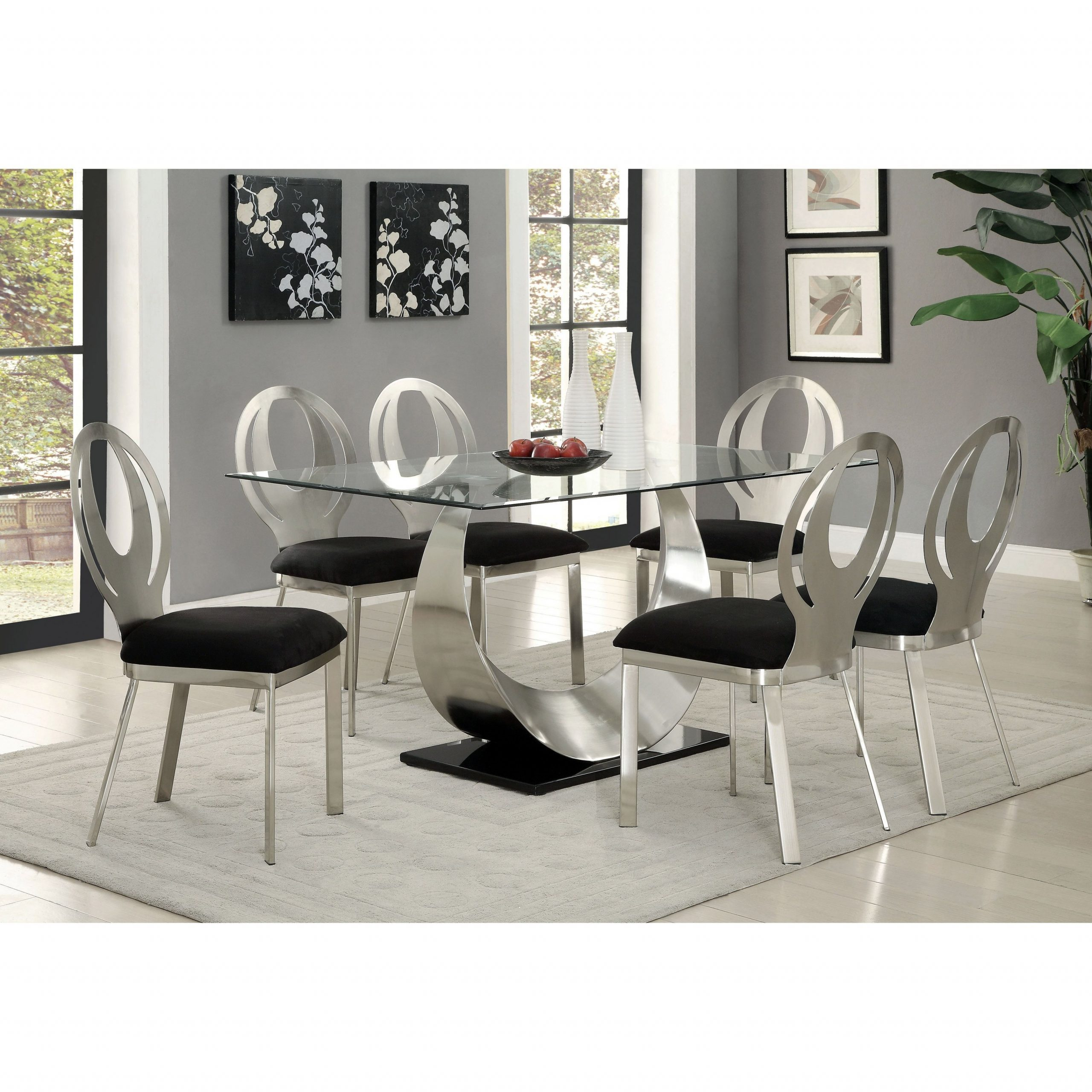 Faux Marble Finish Metal Contemporary Dining Tables Regarding Fashionable Furniture Of America Heer Contemporary Silver 60 Inch Dining (View 22 of 25)