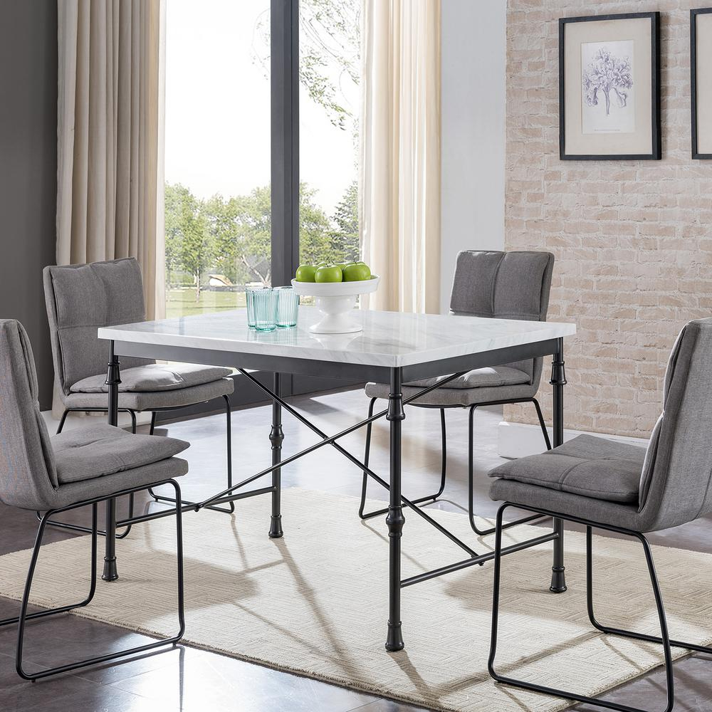 Faux Marble Finish Metal Contemporary Dining Tables Regarding Most Recently Released Southern Enterprises Sorent White Faux Marble Dining Table (View 10 of 25)