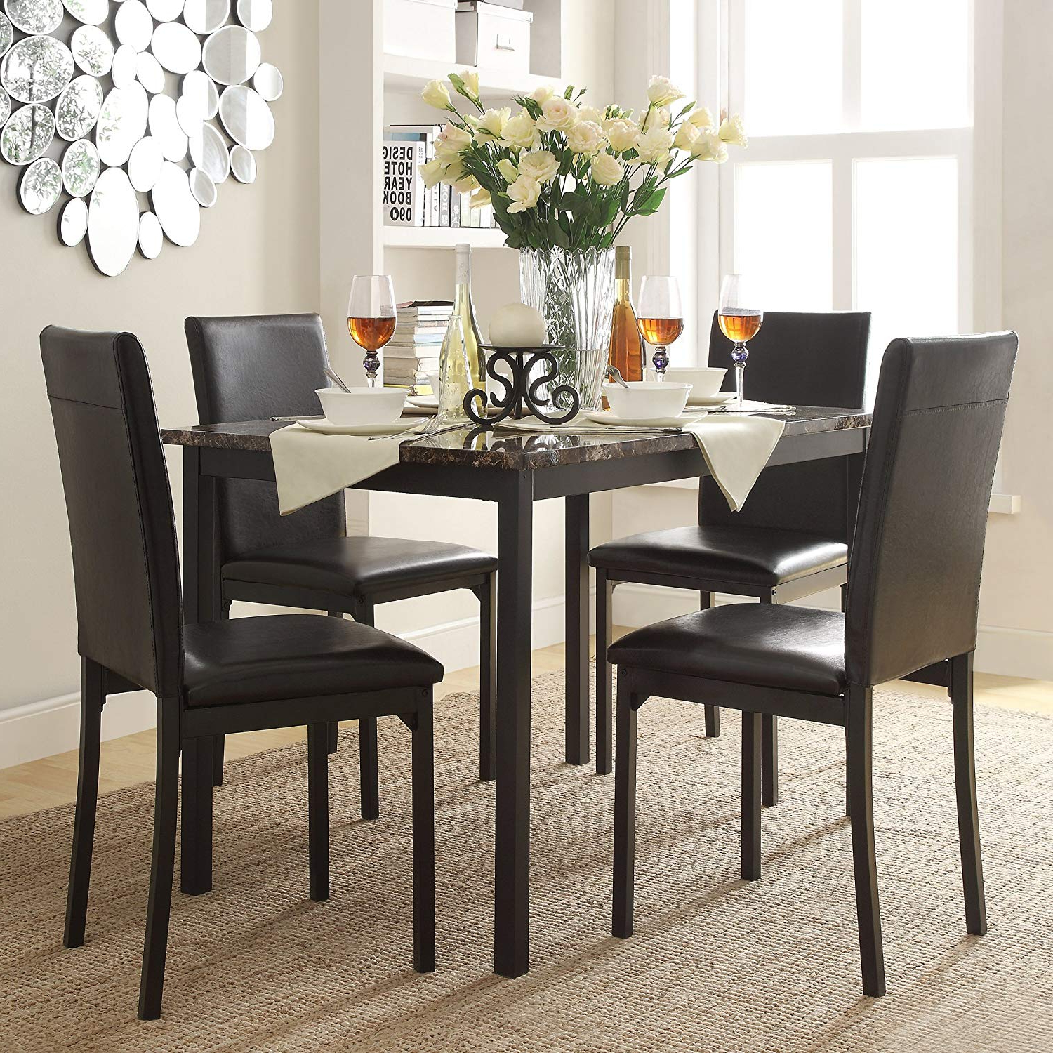 Faux Marble Finish Metal Contemporary Dining Tables Within Most Current Amazon – Faux Marble Table And 4 Faux Leather (View 2 of 25)