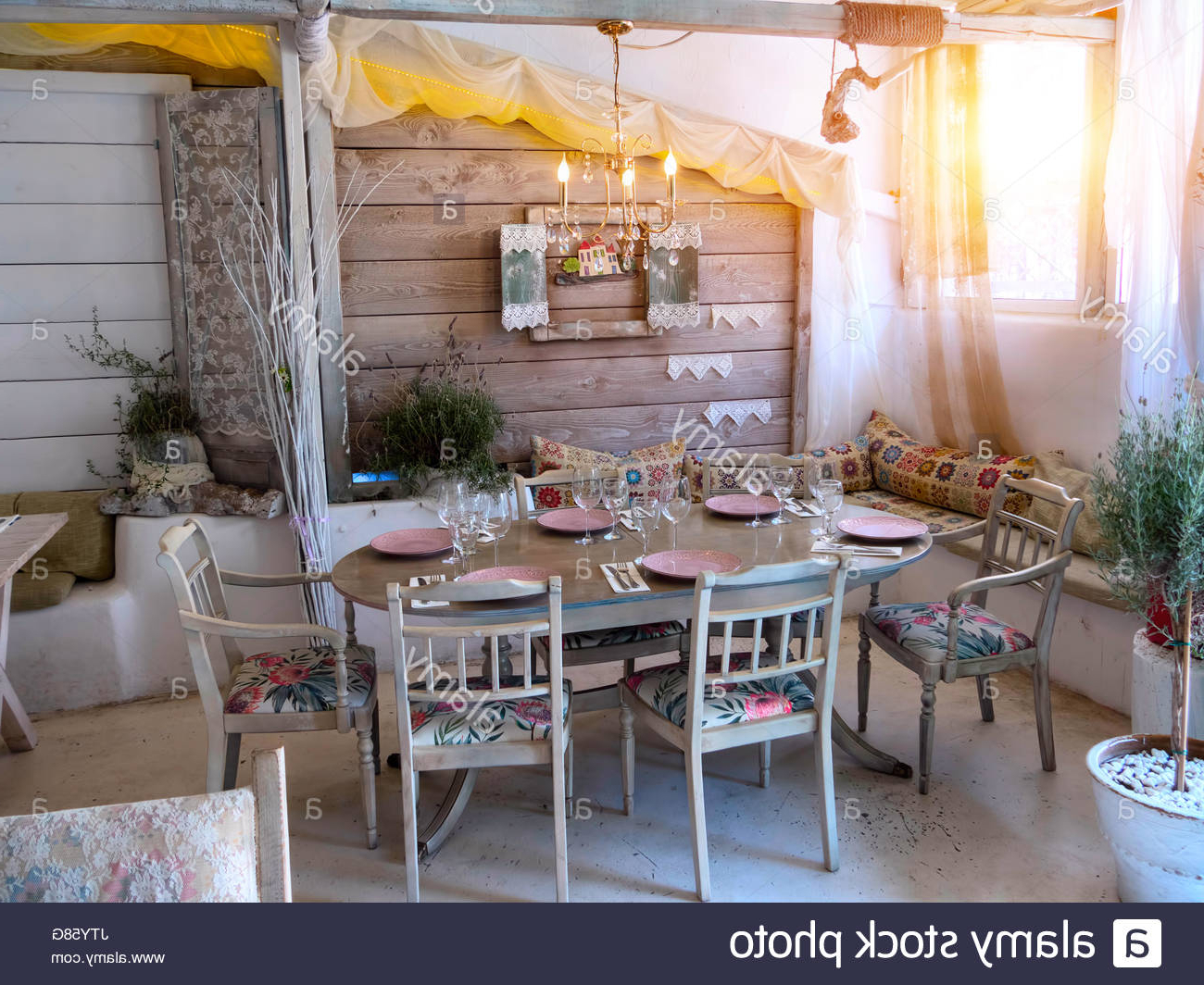 Favorite A Small Dining Room In A Rustic House, In An Old Style Stock Pertaining To Small Rustic Look Dining Tables (View 20 of 25)