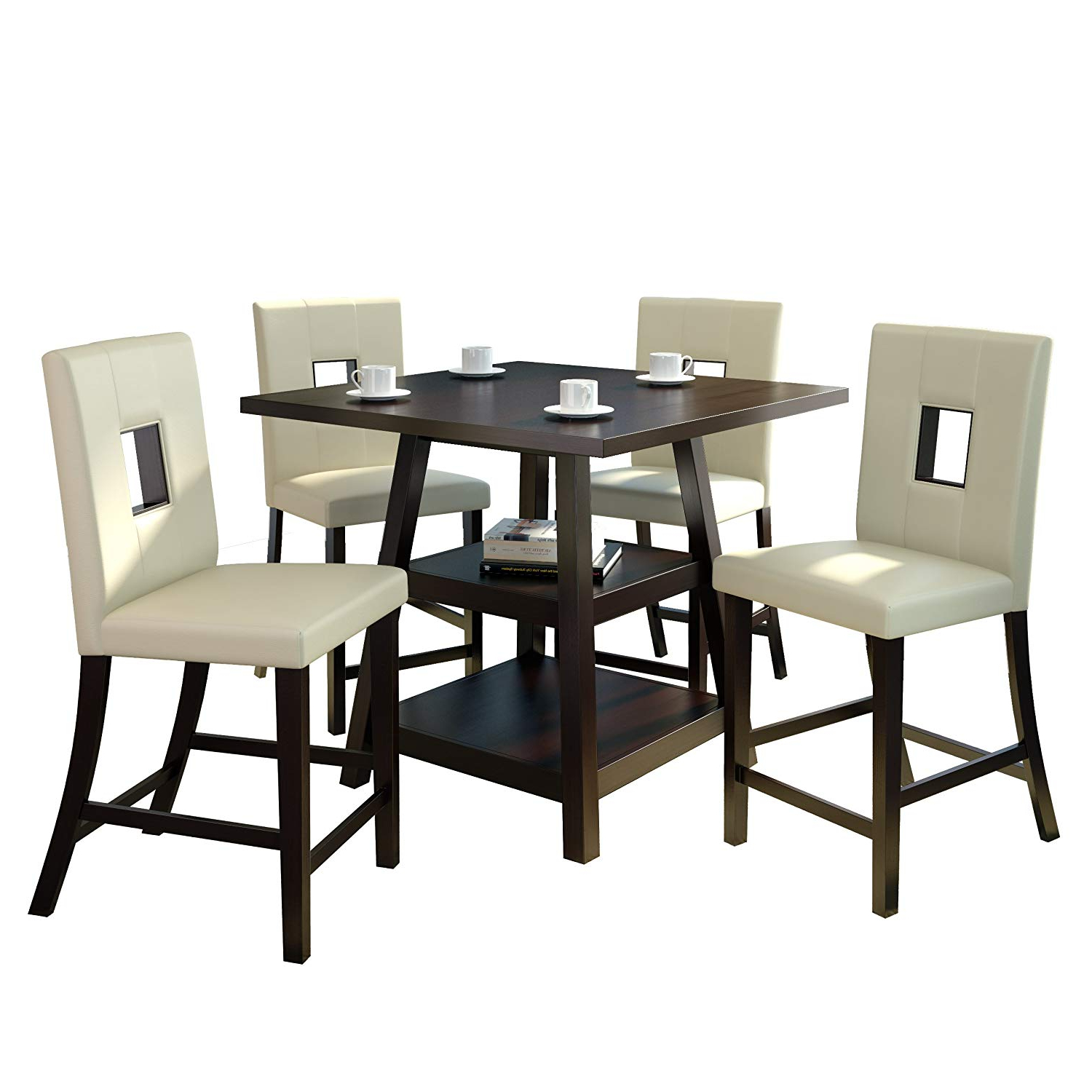 """Favorite Corliving Bistro Dining Set, 36"""", Cappuccino/white Pertaining To Bistro Transitional 4 Seating Square Dining Tables (View 3 of 24)"""