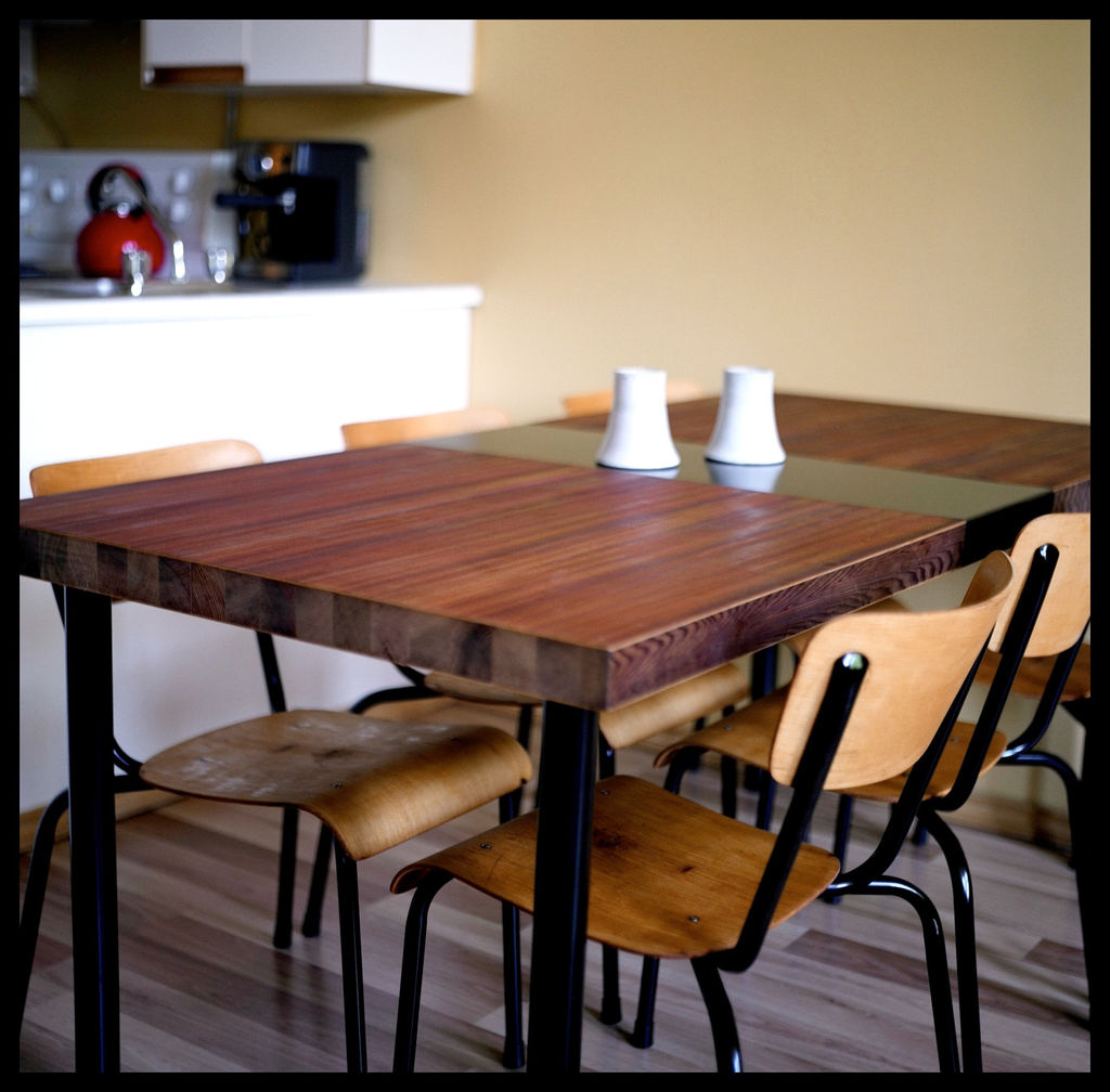Favorite Dining Table Made From A Reclaimed Door : 5 Steps (With For Iron Wood Dining Tables With Metal Legs (View 21 of 25)