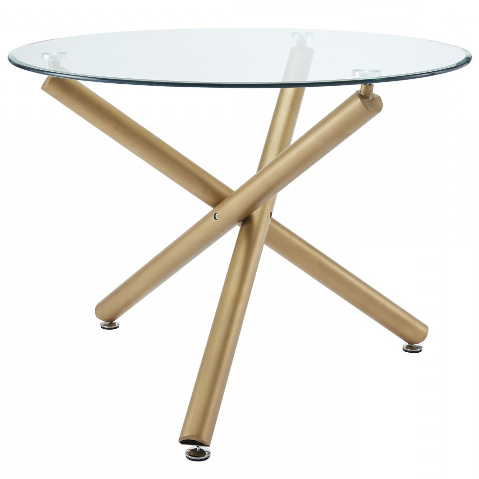 Favorite Dining Tables With Brushed Gold Stainless Finish Pertaining To Carmilla Round Dining Table In Gold – Dining Tables – Dining (View 11 of 25)