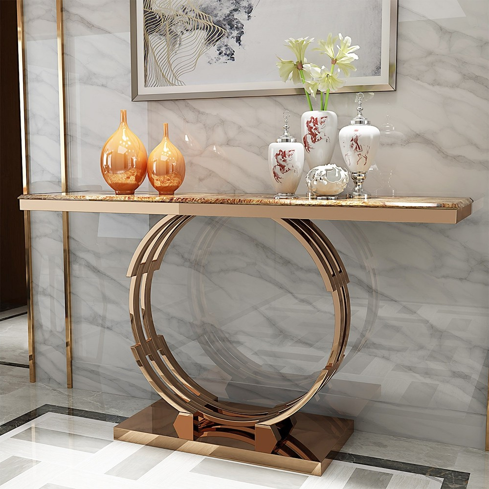 """Favorite Faux Marble Finish Metal Contemporary Dining Tables Pertaining To Modern Luxury 48"""" Faux Marble Narrow Console Table Rectangle Tabletop  Stainless Steel In Rose Gold (View 12 of 25)"""