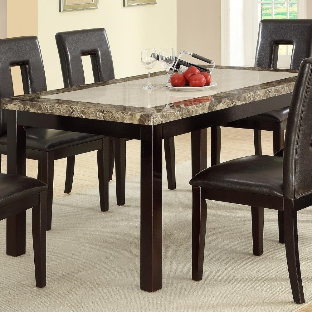 Favorite Faux Marble Finish Metal Contemporary Dining Tables Throughout Slick Finish Faux Marble & Pine Wood Dining Table, Brown (View 13 of 25)