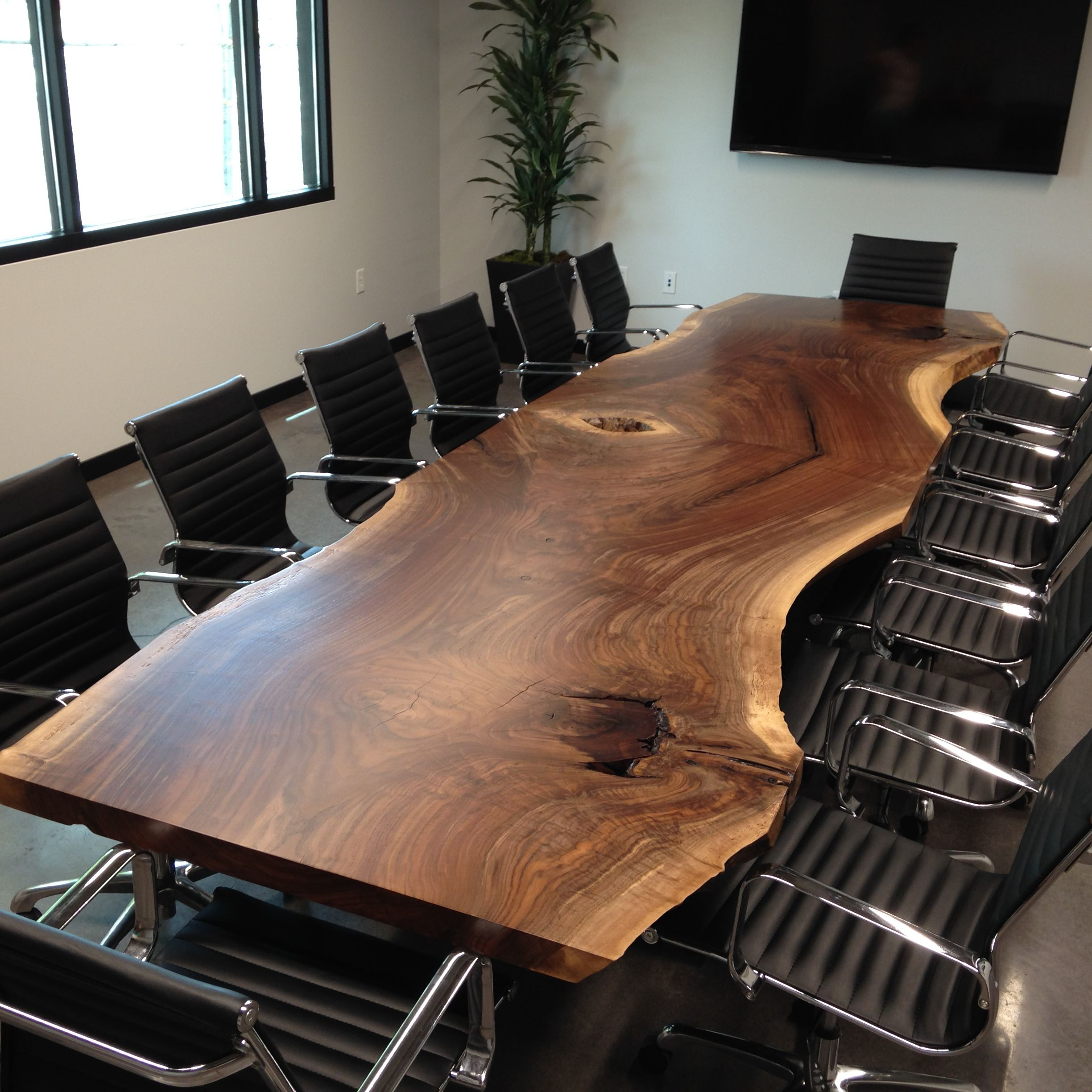 Favorite Hand Made Custom Live Edge Black Walnut Conference Table For Walnut Finish Live Edge Wood Contemporary Dining Tables (View 20 of 25)