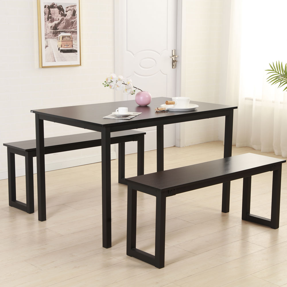 Favorite Iron Wood Dining Tables Inside Details About Modern Style Dining Table And Chairs Benches Kitchen Room  Furniture Iron Frame (View 19 of 25)