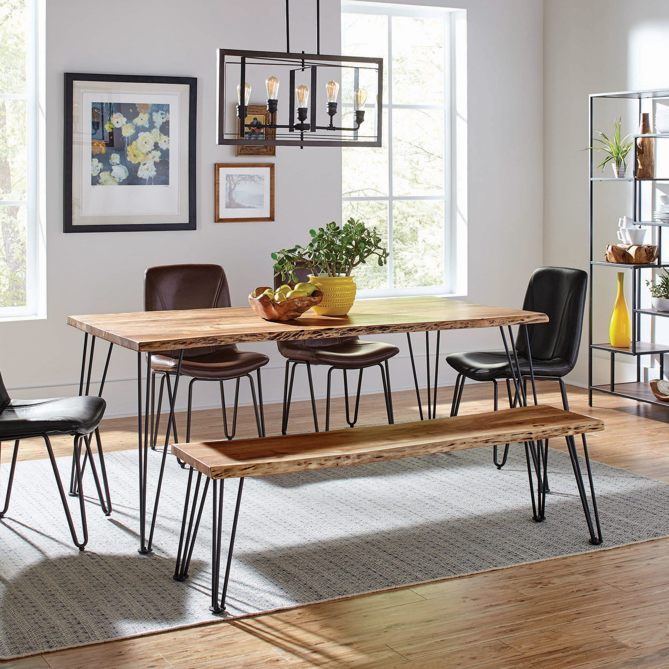 Favorite Sherman Rectangular Dining Table Natural Acacia And Matte Intended For Acacia Dining Tables With Black Legs (View 20 of 25)