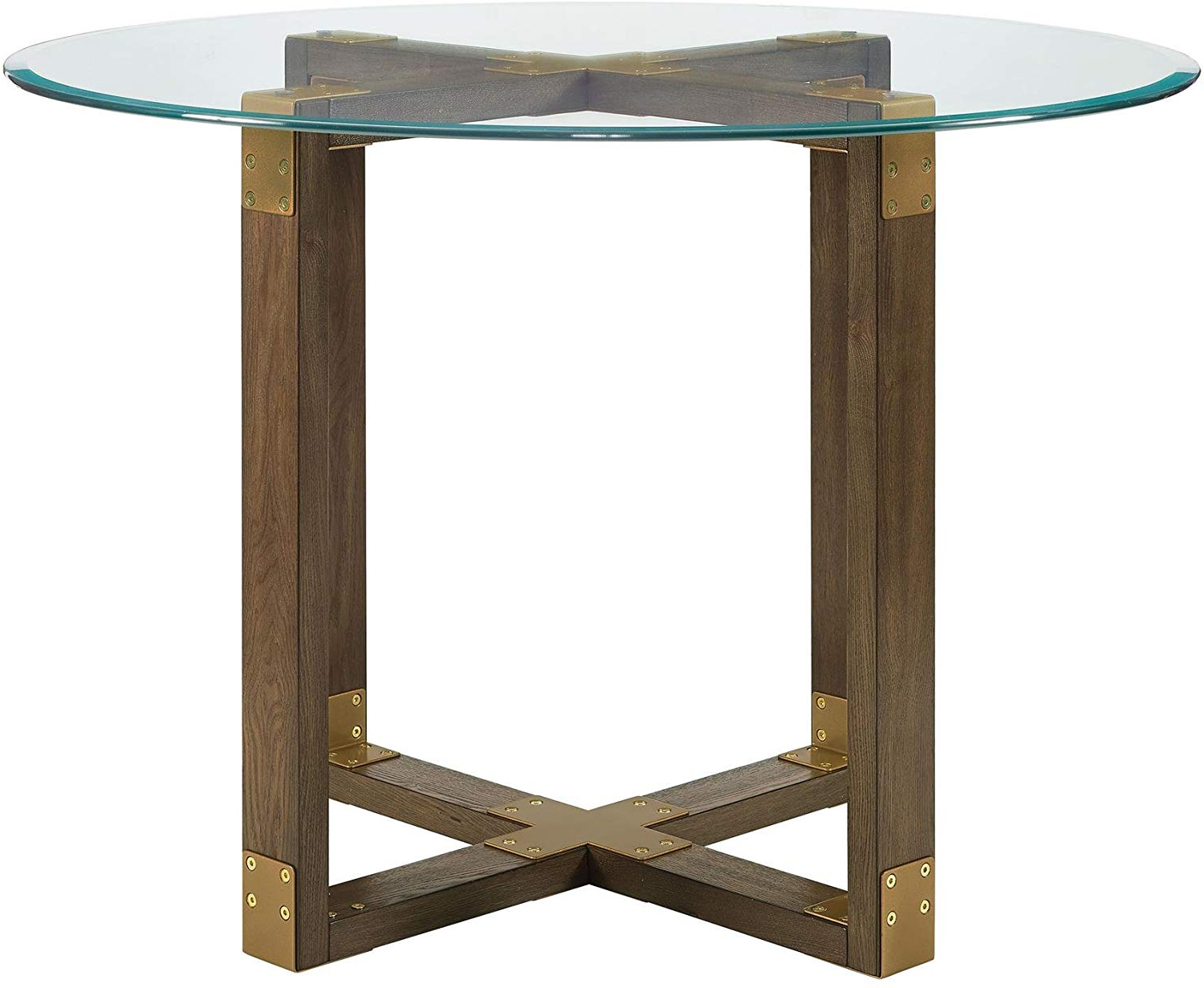 Favorite Small Rustic Look Dining Tables With Regard To Dorel Living Bronx Glass Top Dining Table, Rustic Oak (View 8 of 25)