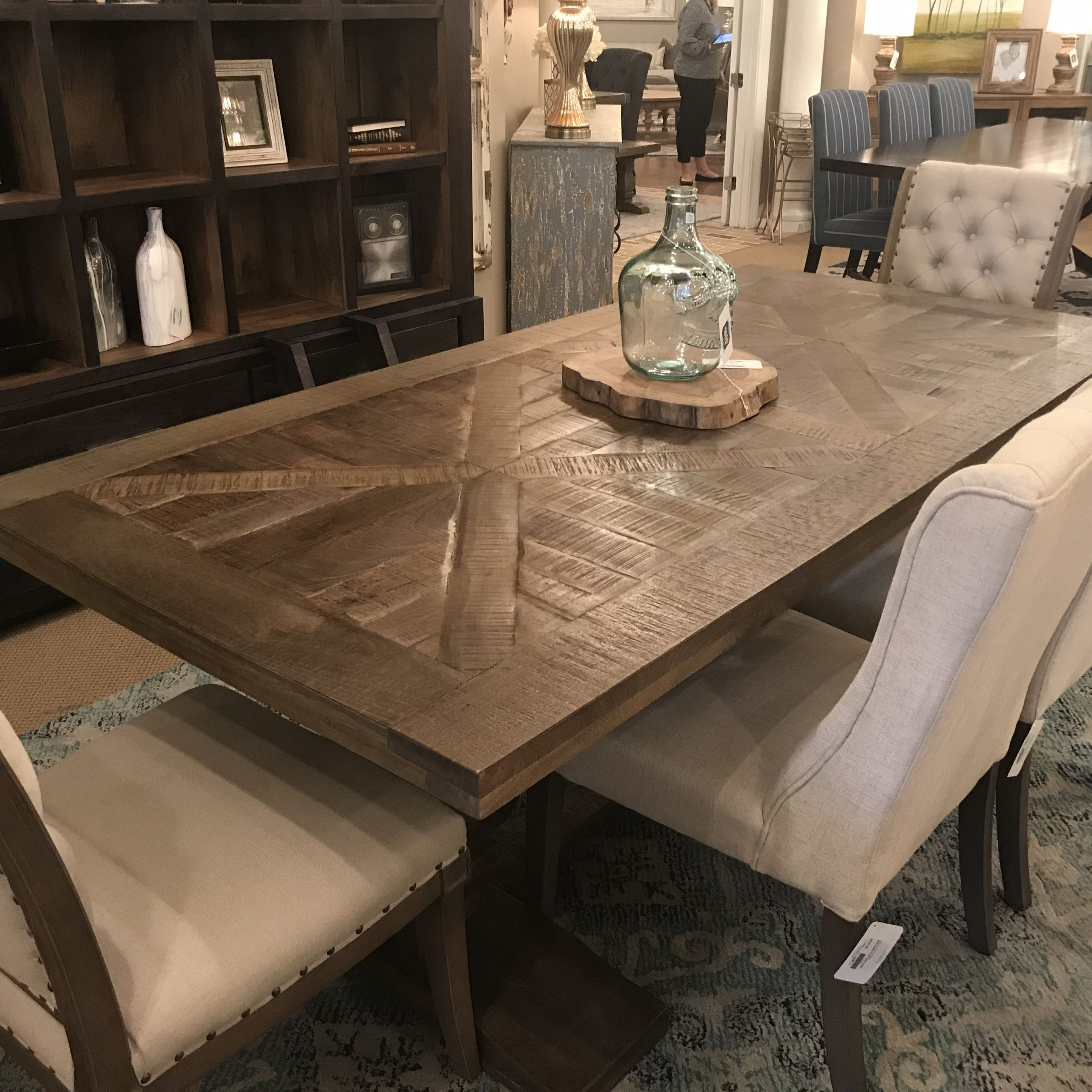 """Favorite Transitional Driftwood Casual Dining Tables With Regard To Charleston 84"""" Parquet Top Dining Table – Brown Wash (View 22 of 25)"""
