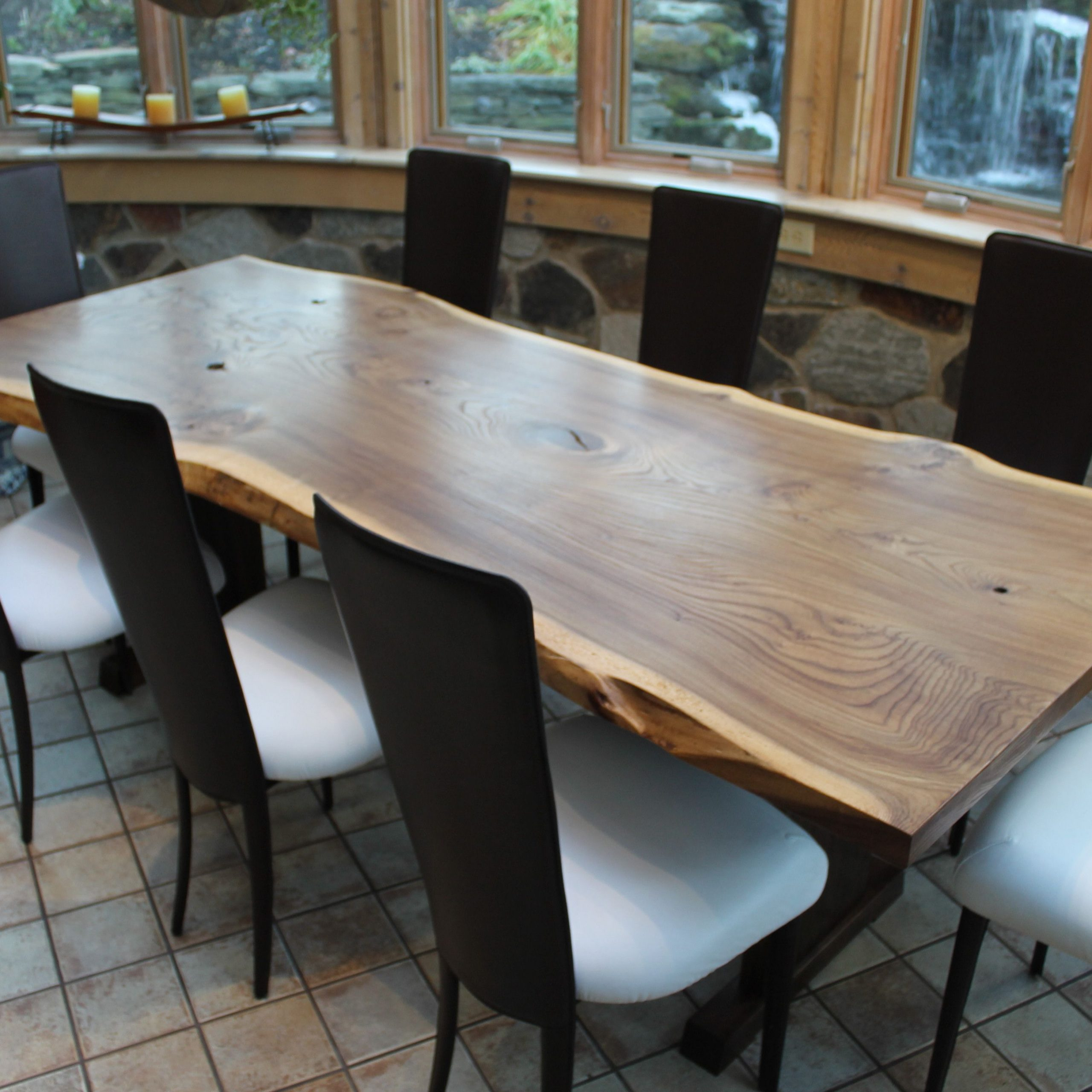 Favorite Walnut Finish Live Edge Wood Contemporary Dining Tables Intended For Hand Crafted Live Edge English Elm Slab Dining Table (View 8 of 25)