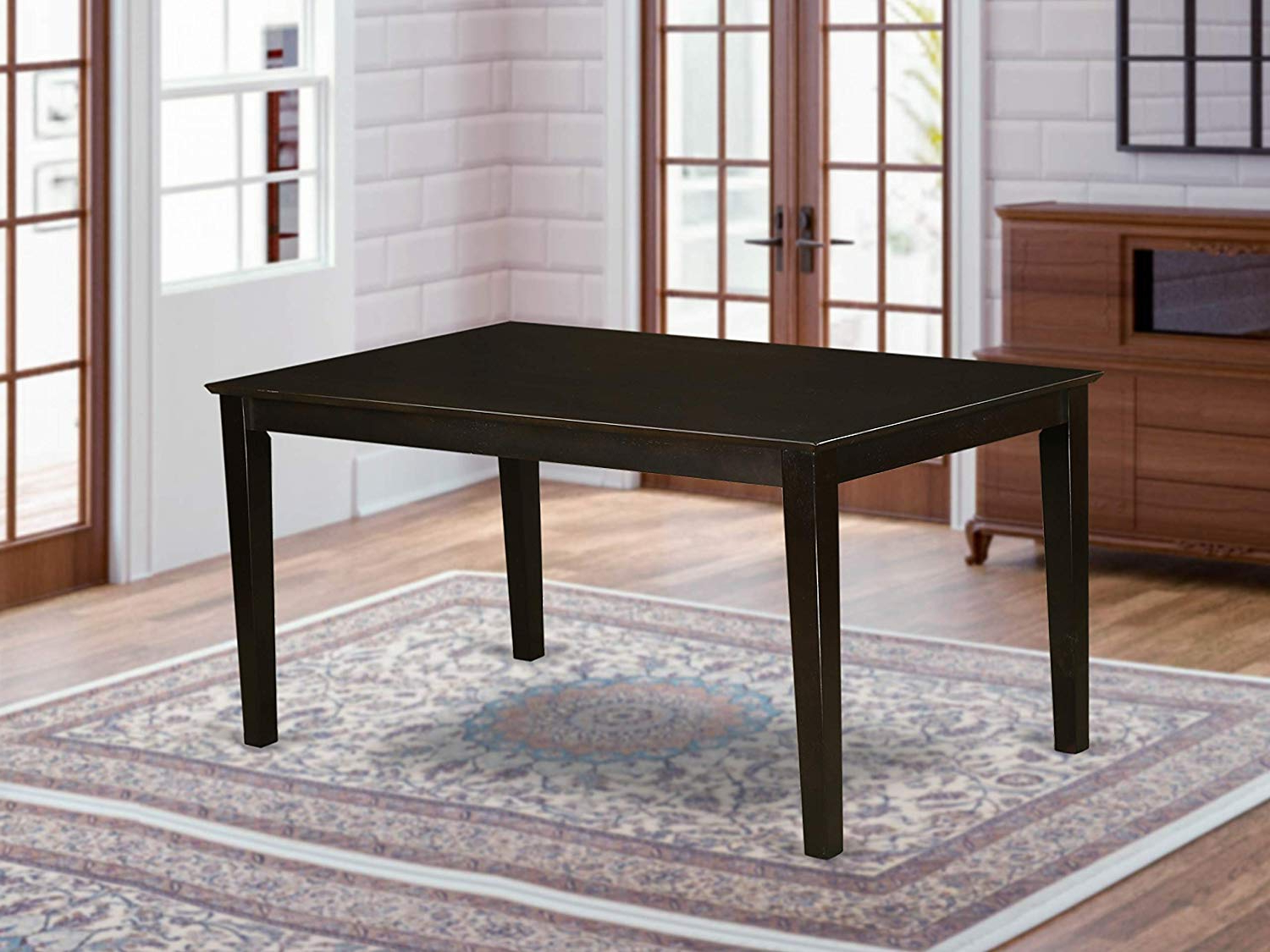 """Favorite Wood Top Dining Tables Throughout Capri Rectangular Dining Table 36""""x60"""" With Solid Wood Top In Cappuccino Finish (View 2 of 25)"""