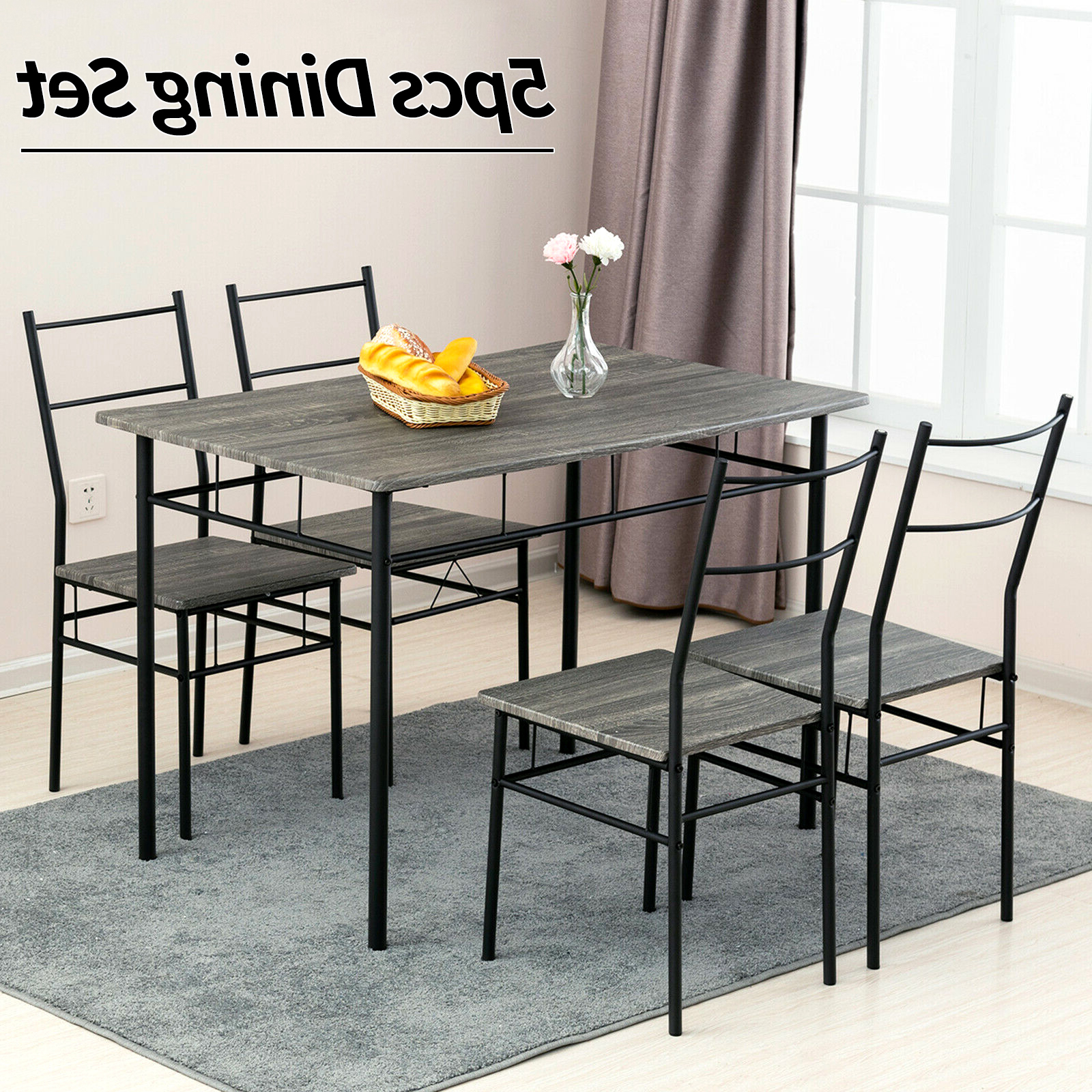 Favorite Wood Top Dining Tables With Details About 5 Piece Metal Dining Table Set 4 Chairs Wood Top Dining Room  Home Furniture Grey (View 10 of 25)