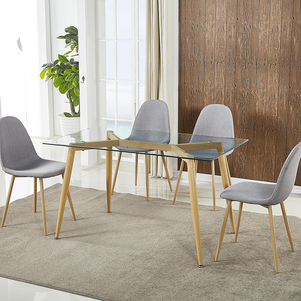 """Folding Table Trexm Contemporary Rectangular 53""""x 30"""" Dining Table With  Tempered Glass Top And Wooden Look Metal Legs Inside Current Contemporary Rectangular Dining Tables (View 6 of 25)"""
