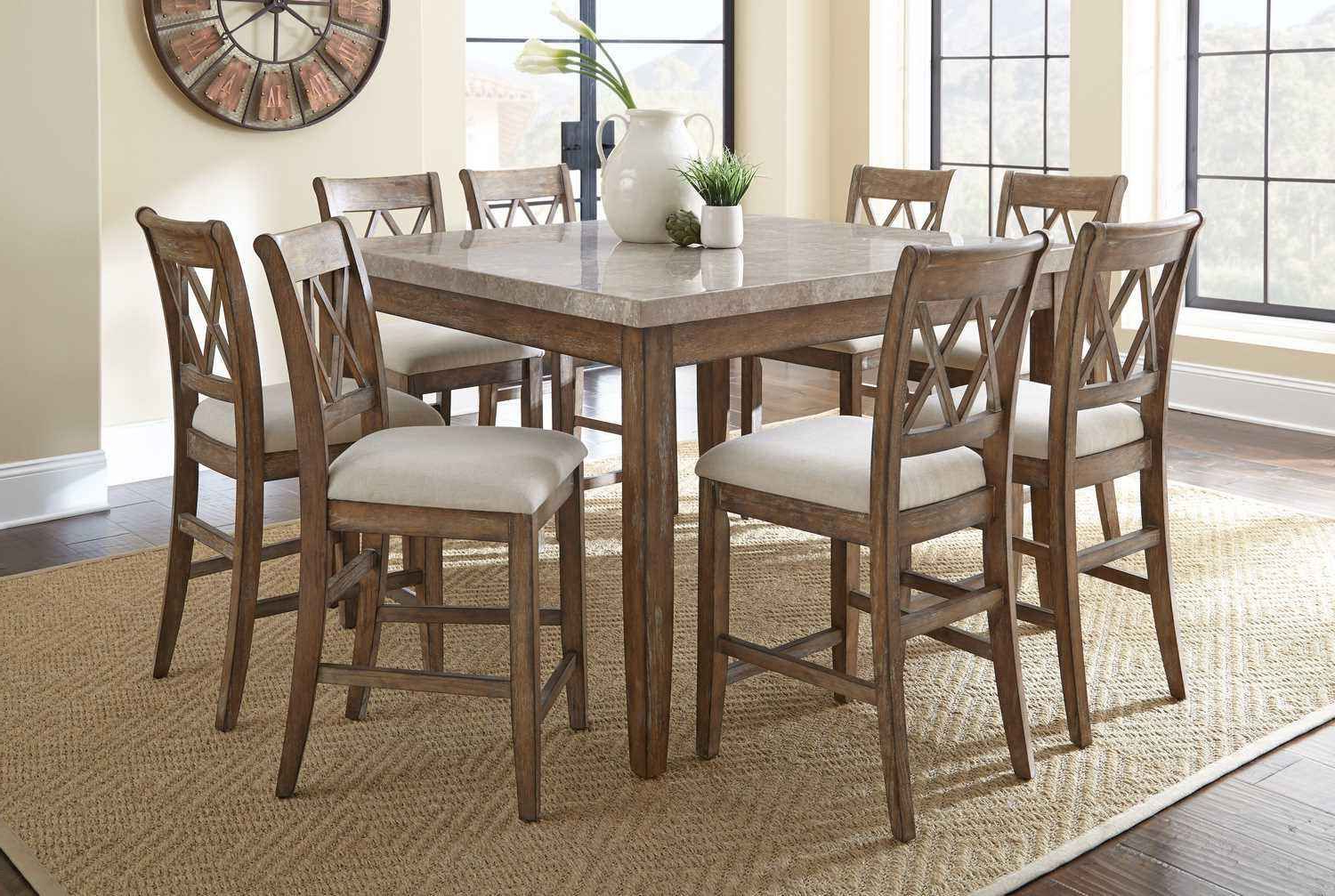 Franco 9 Piece 54 Inch Square Counter Height Table W/ Marble Within Fashionable Transitional 4 Seating Square Casual Dining Tables (View 9 of 25)