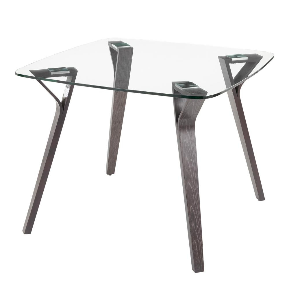 Frosted Glass Modern Dining Tables With Grey Finish Metal Tapered Legs For Latest Lumisource Folia Mid Century Dark Grey Wood And Clear Glass (View 6 of 25)