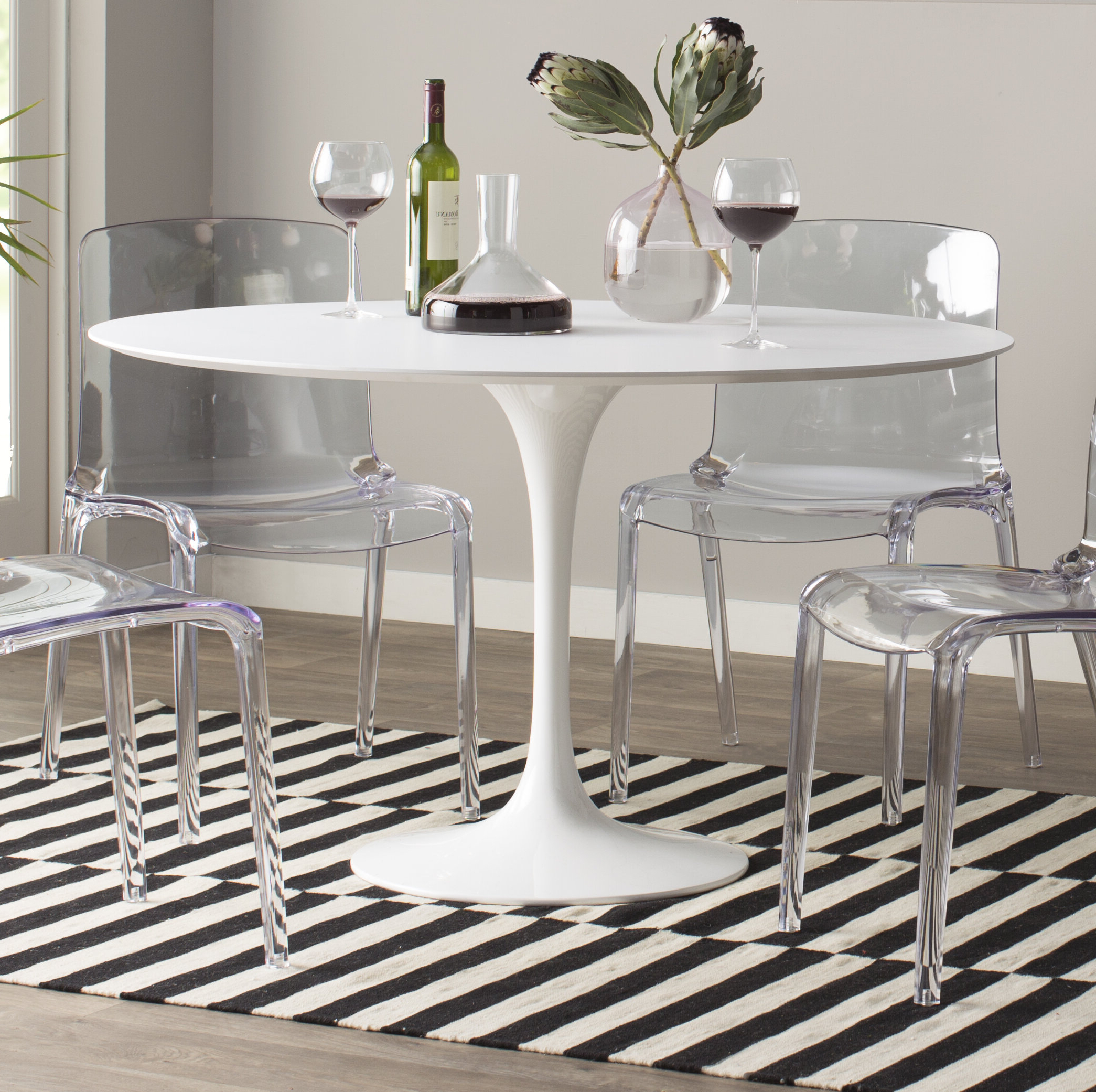 Frosted Glass Modern Dining Tables With Grey Finish Metal Tapered Legs Regarding Fashionable Angelica Matte Lacquer Dining Table & Reviews (View 9 of 25)