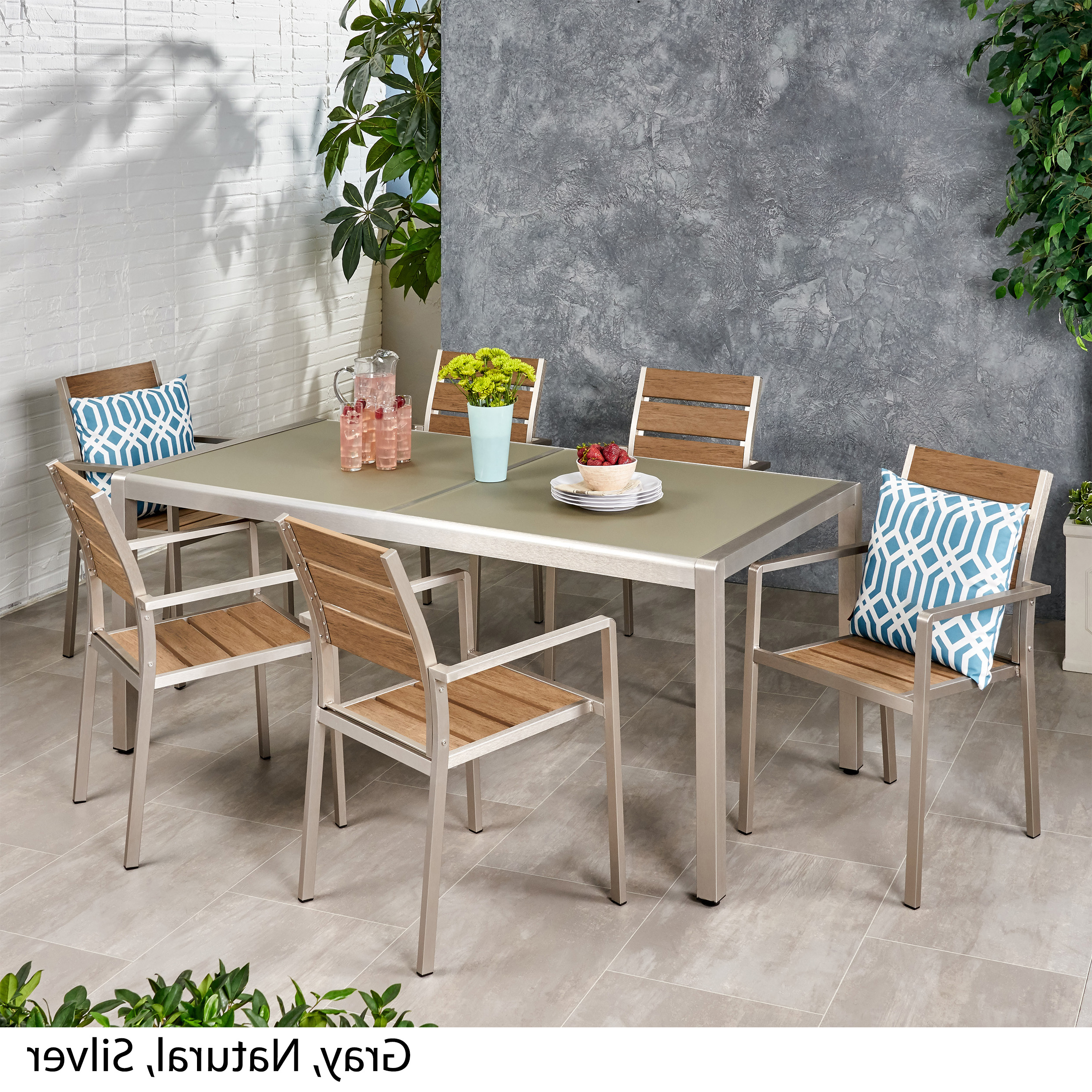 Frosted Glass Modern Dining Tables With Grey Finish Metal Tapered Legs With Regard To Best And Newest Details About Cherie Outdoor Modern 6 Seater Aluminum Dining Set With  Tempered Glass Table Top (View 25 of 25)