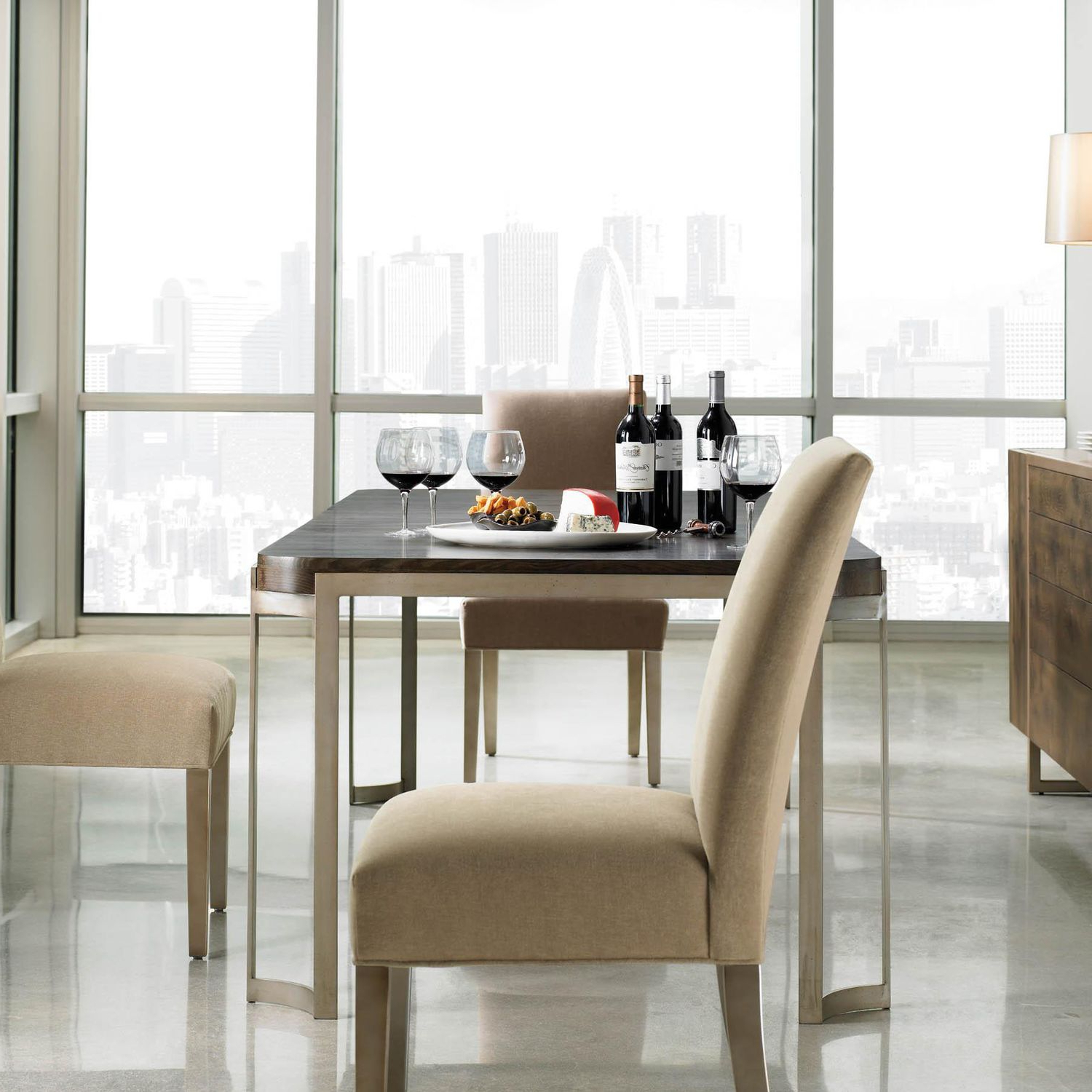 Fumed Oak Dining Tables In Popular Contemporary Dining Table / Oak / Lacquered Metal Base / Rectangular Modern Artisans Caracole (View 19 of 25)