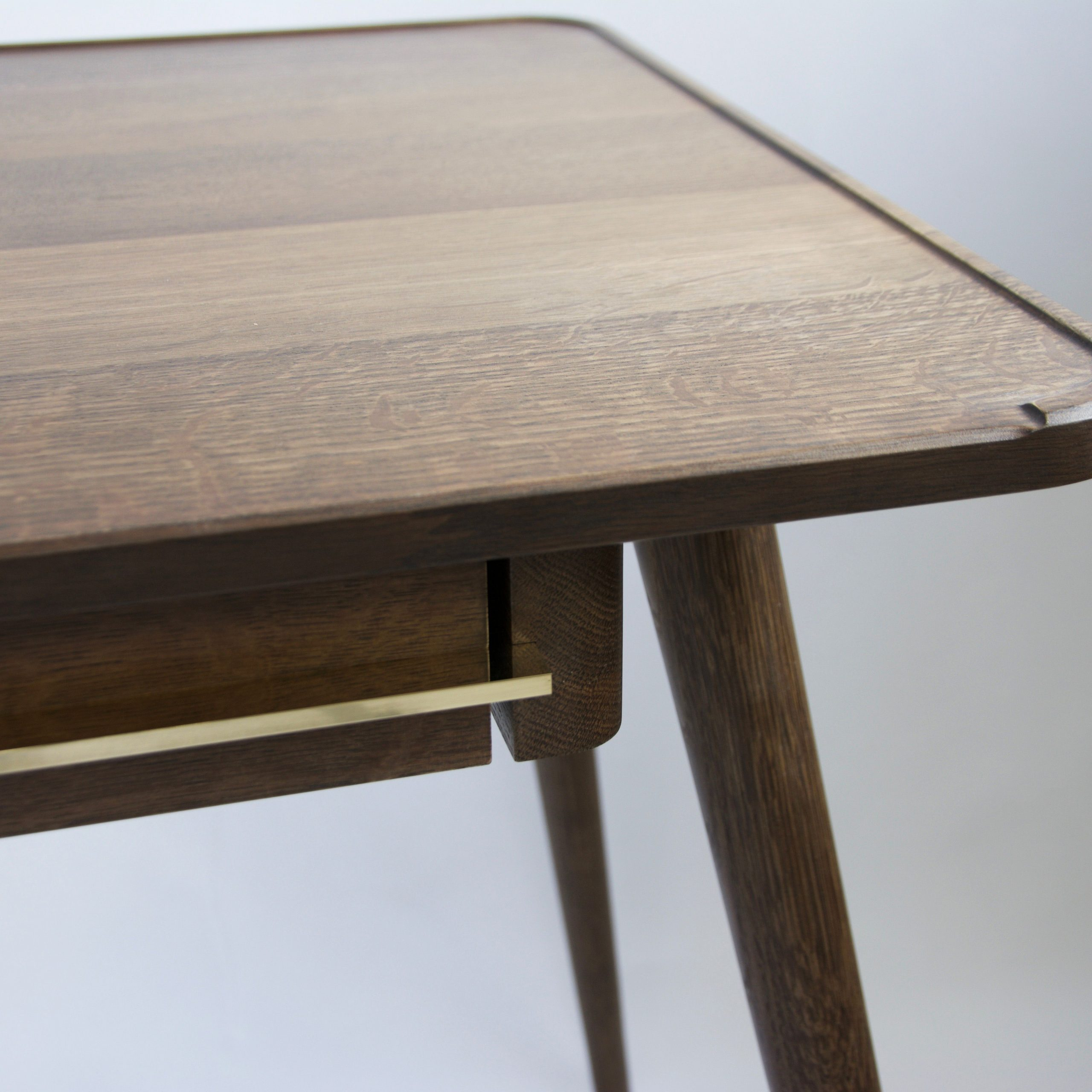 Fumed Oak Dining Tables With Regard To Newest Wall's Desk – Fumed Oak Writing Desk With Brass Detailing (View 11 of 25)