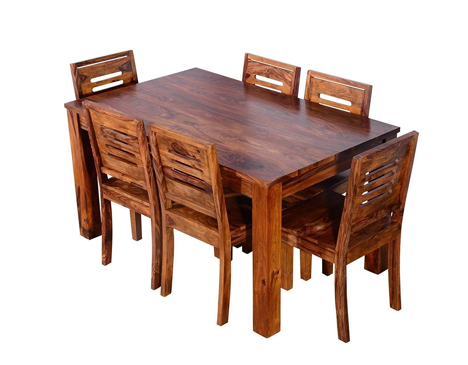 Furniture Flip Sheesham Wood 6 Seater Dining Table With Chairs For Home And  Living Room In Famous 6 Seater Retangular Wood Contemporary Dining Tables (View 11 of 25)