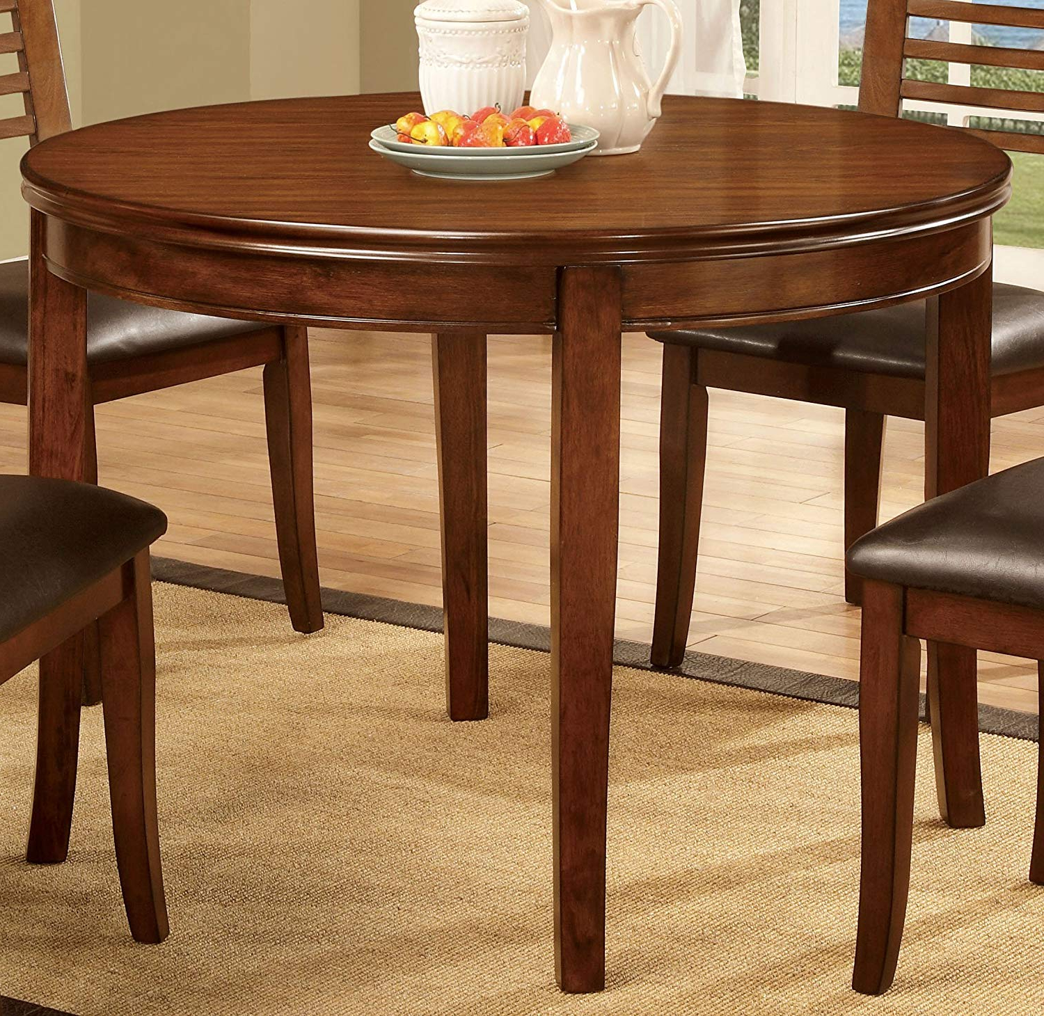 Furniture Of America Dekina Transitional Round Dining Table, Medium Oak With Regard To Well Liked Medium Dining Tables (View 18 of 25)