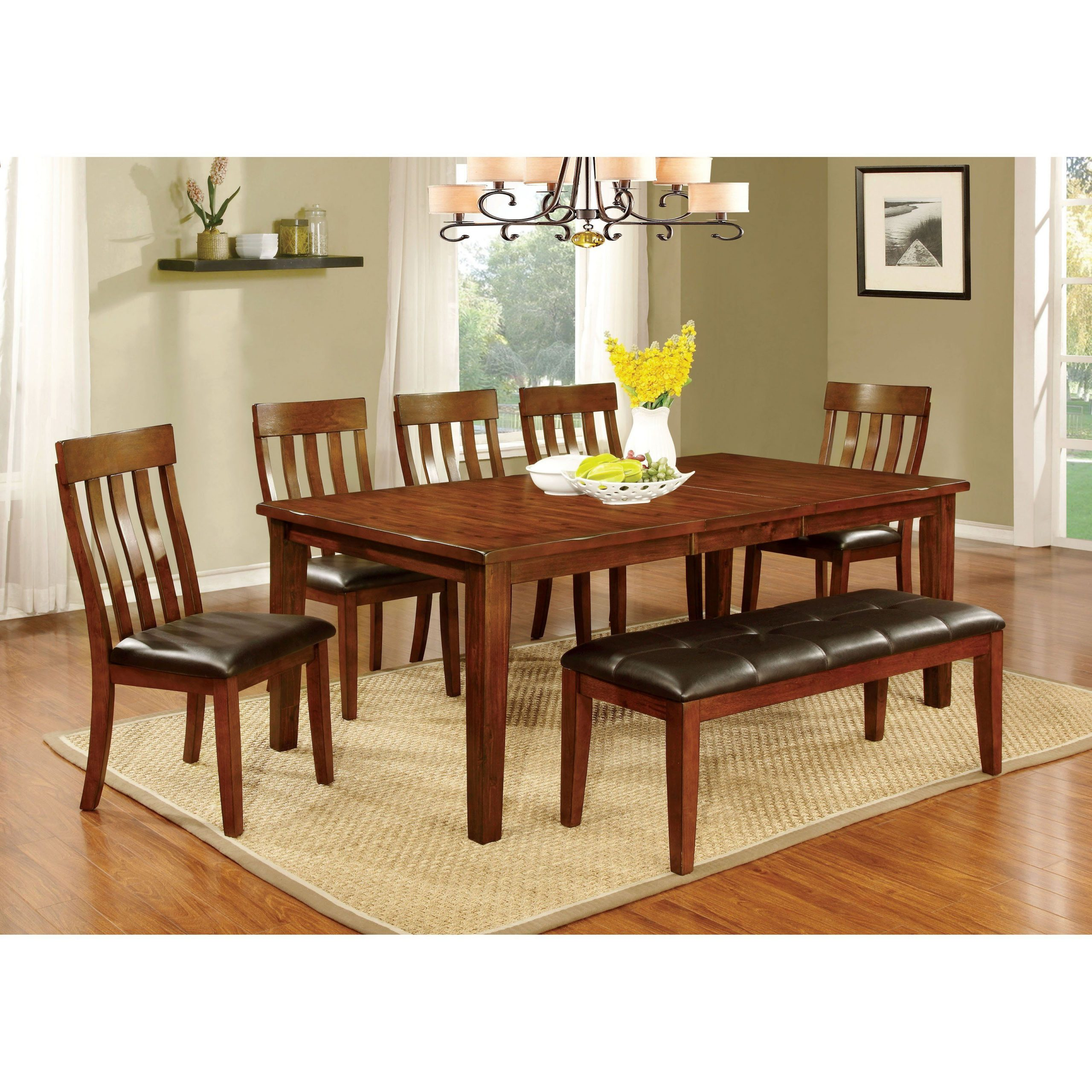 Furniture Of America Ginsberg Transitional 6 Piece Dining In Widely Used Transitional 6 Seating Casual Dining Tables (View 2 of 25)