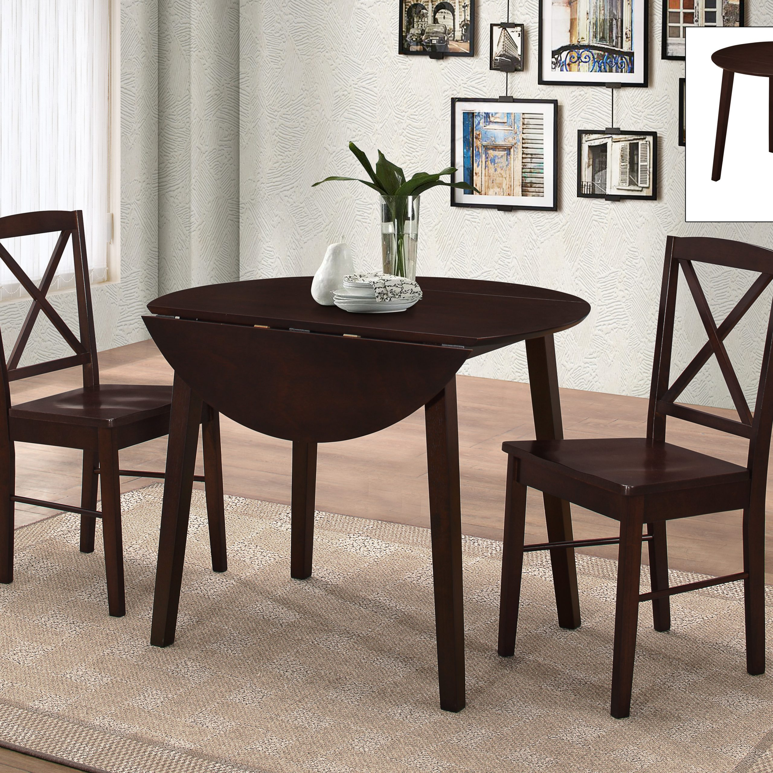 Gaines 3 Piece Kitchen Dining Set, Cappuccino Wood, 39 Throughout Latest Transitional 3 Piece Drop Leaf Casual Dining Tables Set (View 8 of 25)