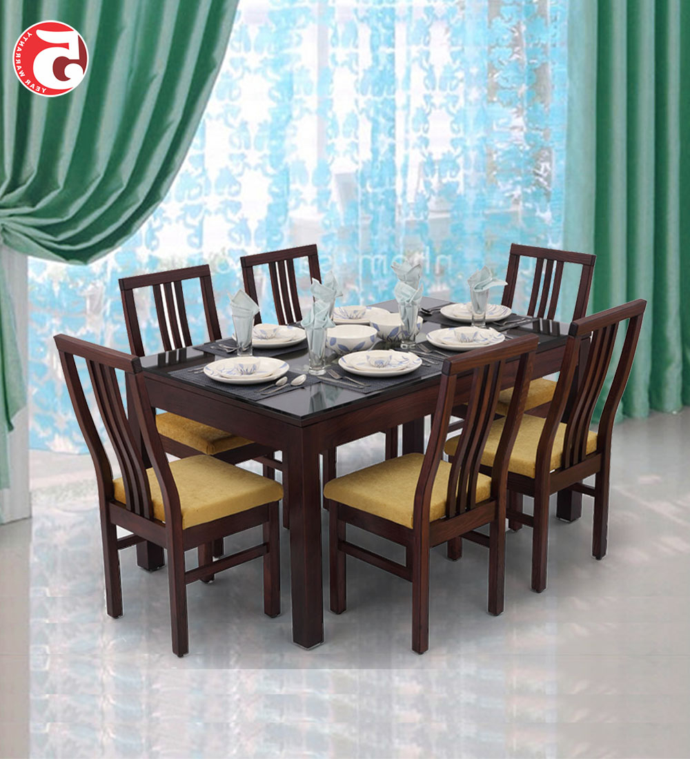 Glass And Wood Dining Tables Desire Rectangular Table Set In Recent 6 Seater Retangular Wood Contemporary Dining Tables (View 12 of 25)